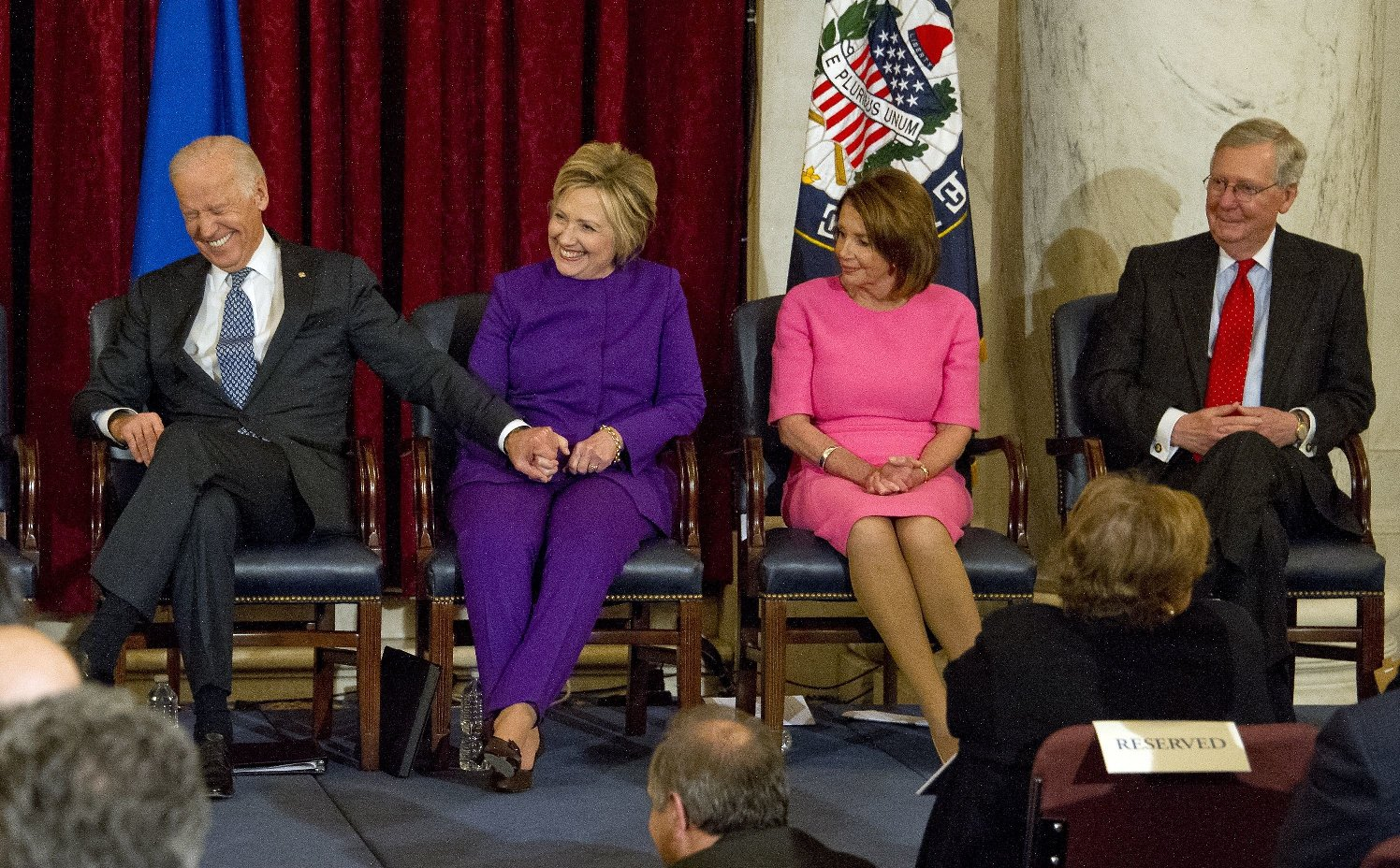 /Joe Biden, Hillary Clinton, Nancy Pelosi, Mitch McConnell Senator Harry Reid portrait unveiling, Washington DC, USA - 08 Dec 2016 Ceremony where the official portrait of US Senate Minority Leader Harry Reid (Democrat of Nevada) is to be unveiled in the Kennedy Caucus Room on Capitol Hill, Image: 307937996, License: Rights-managed, Restrictions: , Model Release: no, Credit line: Profimedia, TEMP Rex Features