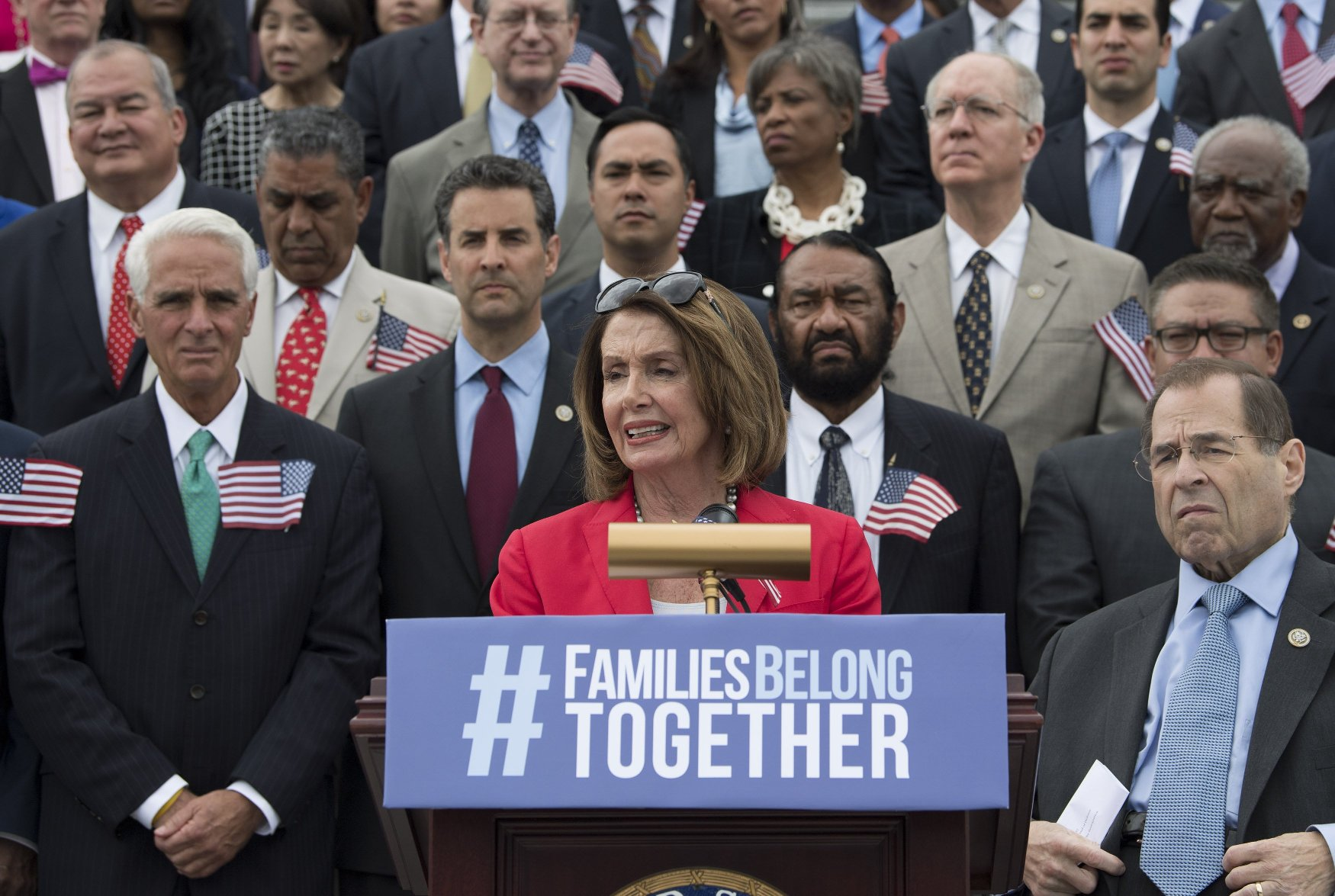 House Minority Leader Nancy Pelosi, D-Calif., joined by fellow House democrats, speaks at a press conference to introduce legislation to end family separation for those detained for crossing the border illegally, at the U.S. Capitol Building in Washington, D.C. on June 20, 2018. Photo by /UPI, Image: 375520203, License: Rights-managed, Restrictions: , Model Release: no, Credit line: Profimedia, UPI