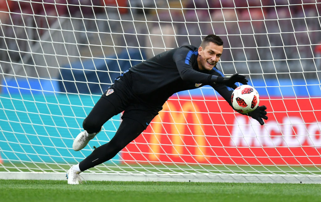 MOSCOW, RUSSIA - JULY 10:  Lovre Kalinic of Croatia makes a save during the Croatia Training Session at the Luzhniki Stadium on July 10, 2018 in Moscow, Russia.  (Photo by Dan Mullan/Getty Images)