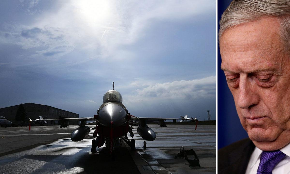 lijevo: F-16 Barak snimljen u Zagrebu; desno: James Mattis