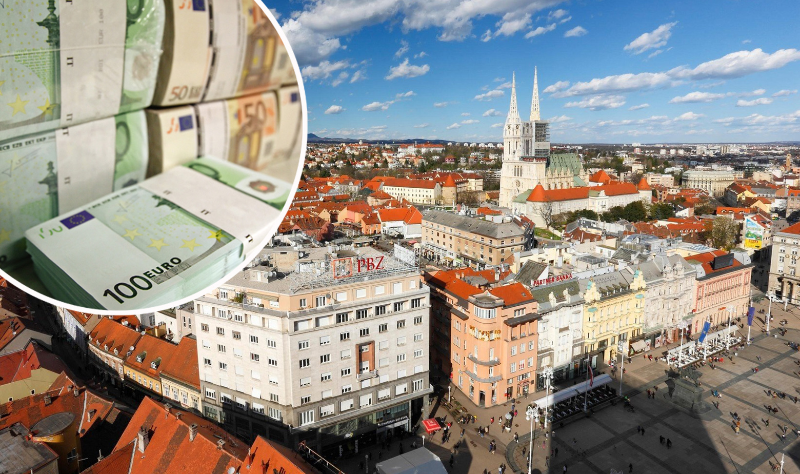Ilustracija: panorama Zagreba i novčanice eura u krugu