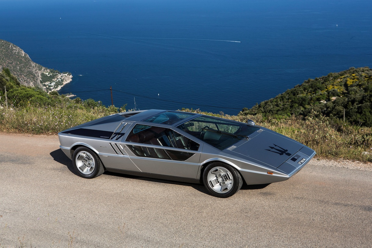 A unique Maserati regarded as one of the most remarkable designs of the 20th Century has sold for Ã2.4million. See SWNS story SWMASER; A unique Maserati regarded as one of the most remarkable designs of the 20th Century has sold for Ã2.4 million. The Maserati Boomerang was a one-off prototype designed by Giorgetto Giugiaro, the man who would later come up with the iconic Mk1 Volkswagen Golf. It was unveiled in 1971 and, a year later, shown off as a fully operational supercar with a 300bhp V8 engine. The one-off car, with its geometric shapes and ruler straight lines, is supposed to be capable of around 180mph., Image: 257709930, License: Rights-managed, Restrictions: follow us on twitter - @swns browse our website - swns.com email pix@swns.com, Model Release: no, Credit line: Profimedia, SWNS