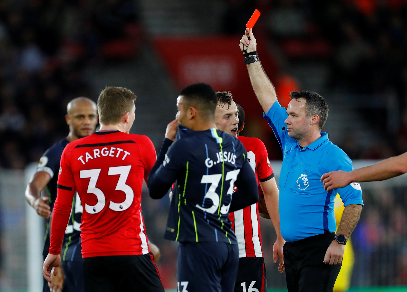 Soccer Football - Premier League - Southampton v Manchester City - St Mary's Stadium, Southampton, Britain - December 30, 2018  Southampton's Pierre-Emile Hojbjerg (not pictured) is shown a red card by referee Paul Tierney  REUTERS/Eddie Keogh  EDITORIAL USE ONLY. No use with unauthorized audio, video, data, fixture lists, club/league logos or