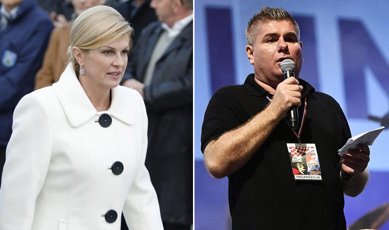Velimir Bujanec (D) tvrdi da se u svibnju 2017. godine predsjednica Kolinda Grabar-Kitarović (L) pridružila večeri na kojoj je on bio s gostima svoje emisije Tihomirom Dujmovićem i Milanom Ivkošićem
