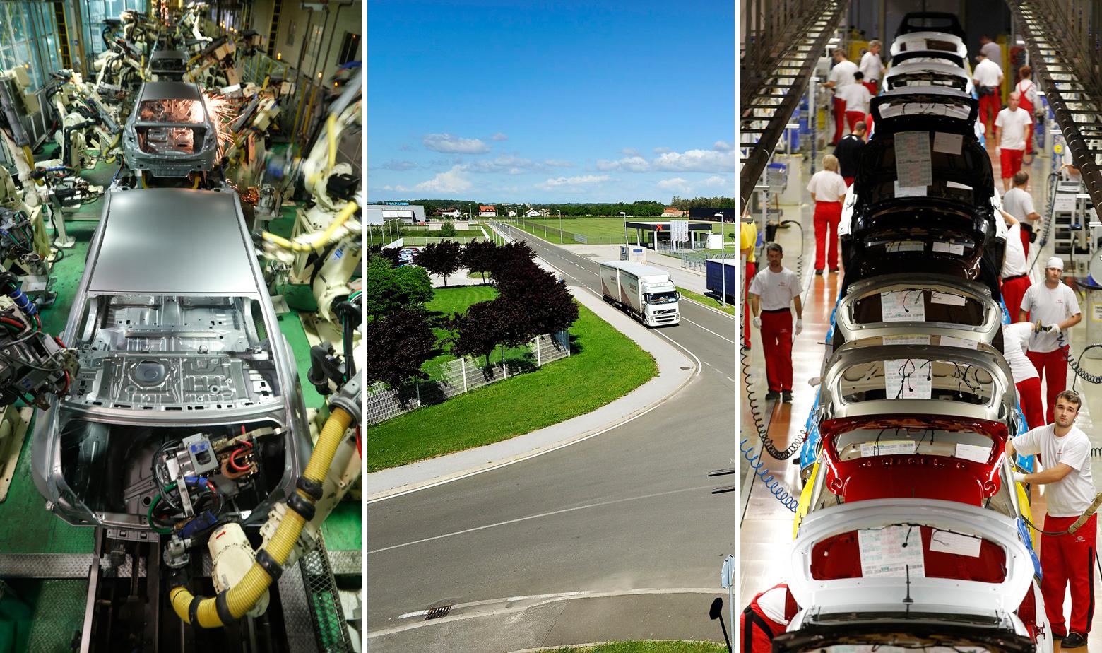 Ilustracija: Tvornica Hyundaija u Južnoj Koreji, poslovna zona u Trnovcu Bartolovečkom pokraj Varaždina i tvornice Kije u Žilini, Slovačka