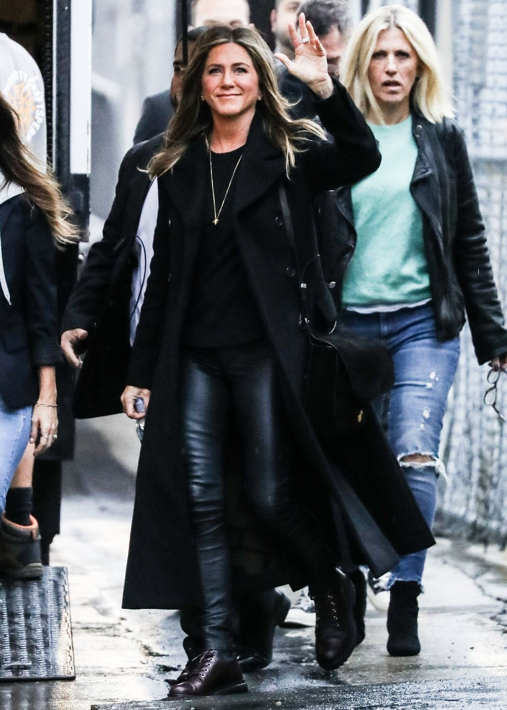 Hollywood, CA  - Actress Jennifer Aniston is seen arriving for her appearance on 'Jimmy Kimmel Live!' in Hollywood. Jennifer looked stylish in a black trench coat, black sweater, black leather pants and a pair of black boots for her appearance.  Pictured: Jennifer Aniston  BACKGRID USA 5 DECEMBER 2018, Image: 400699076, License: Rights-managed, Restrictions: , Model Release: no, Credit line: Profimedia, AKM-GSI