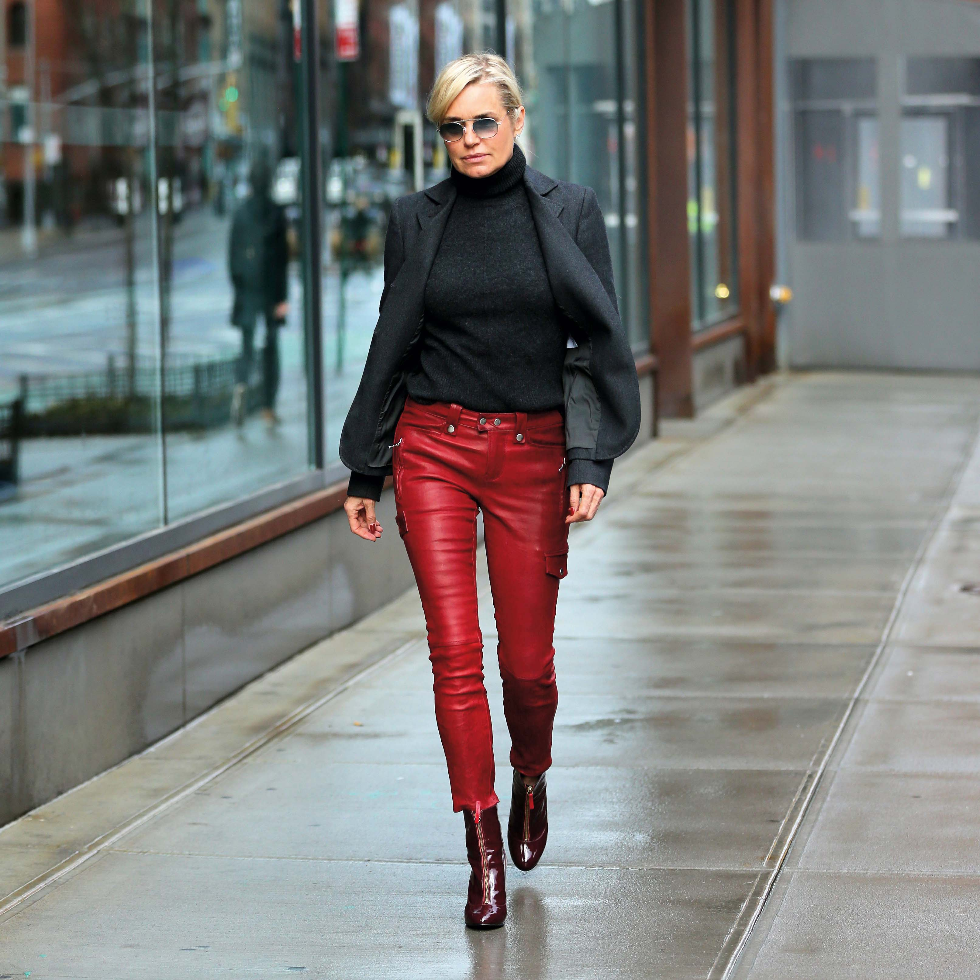 TV personality Yolanda Hadid, wearing red leather pants, red ankle boots, black turtleneck and jacket, walks to Gigi Hadid's apartment in New York City, New York on January 23, 2018. <P> Pictured: Yolanda Hadid <B>Ref: SPL1649525  230118  </B><BR/> Picture by: Christopher Peterson/Splash News<BR/> </P><P> <B>Splash News and Pictures</B><BR/> Los Angeles:310-821-2666<BR/> New York:212-619-2666<BR/> London:870-934-2666<BR/> <span id=