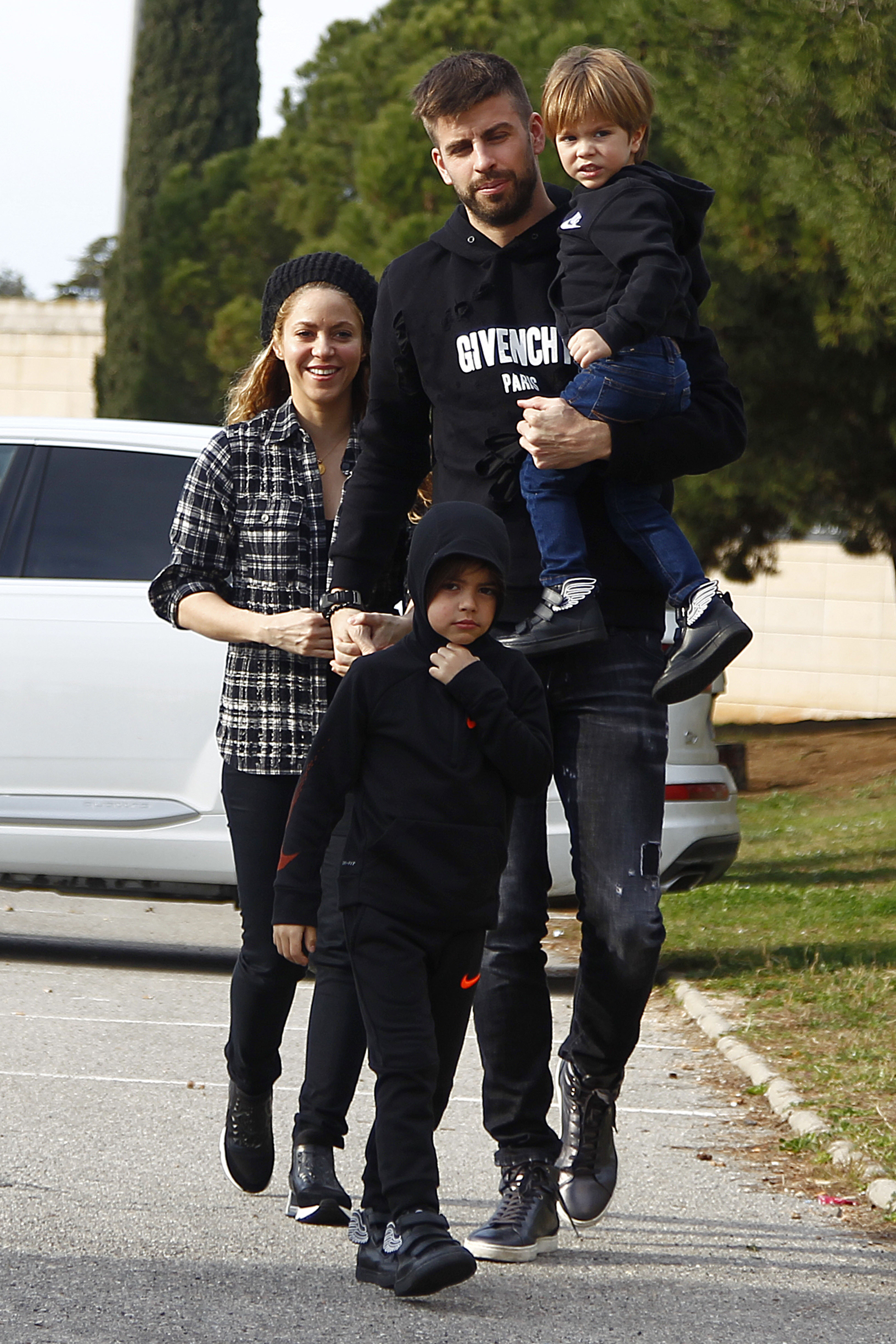 EXCLUSIVE: Shakira and partner Gerard Pique are seen with sons Milan and Sasha in Barcelona, Spain.  The couple looked loved-up after their relationship became the subject of rumours late last year. The happy family was heading to the Disney on Ice show at the Palau Sant Jordi in Barcelona. Shakira, 41, who battled a vocal chord haemorrhage towards the end of 2017, was all smiles. Barcelona FC star Pique, 31, wore a Givenchy hooded top while the kids were dressed in Nike and adidas Jeremy Scott trainers / sneakers.  <P> Pictured: Shakira, Gerard Pique, Sasha, Milan <B>Ref: SPL1661358  190218   EXCLUSIVE</B><BR/> Picture by: Santi Delgado / Splash News<BR/> </P><P> <B>Splash News and Pictures</B><BR/> Los Angeles:310-821-2666<BR/> New York:212-619-2666<BR/> London:870-934-2666<BR/> <span id=