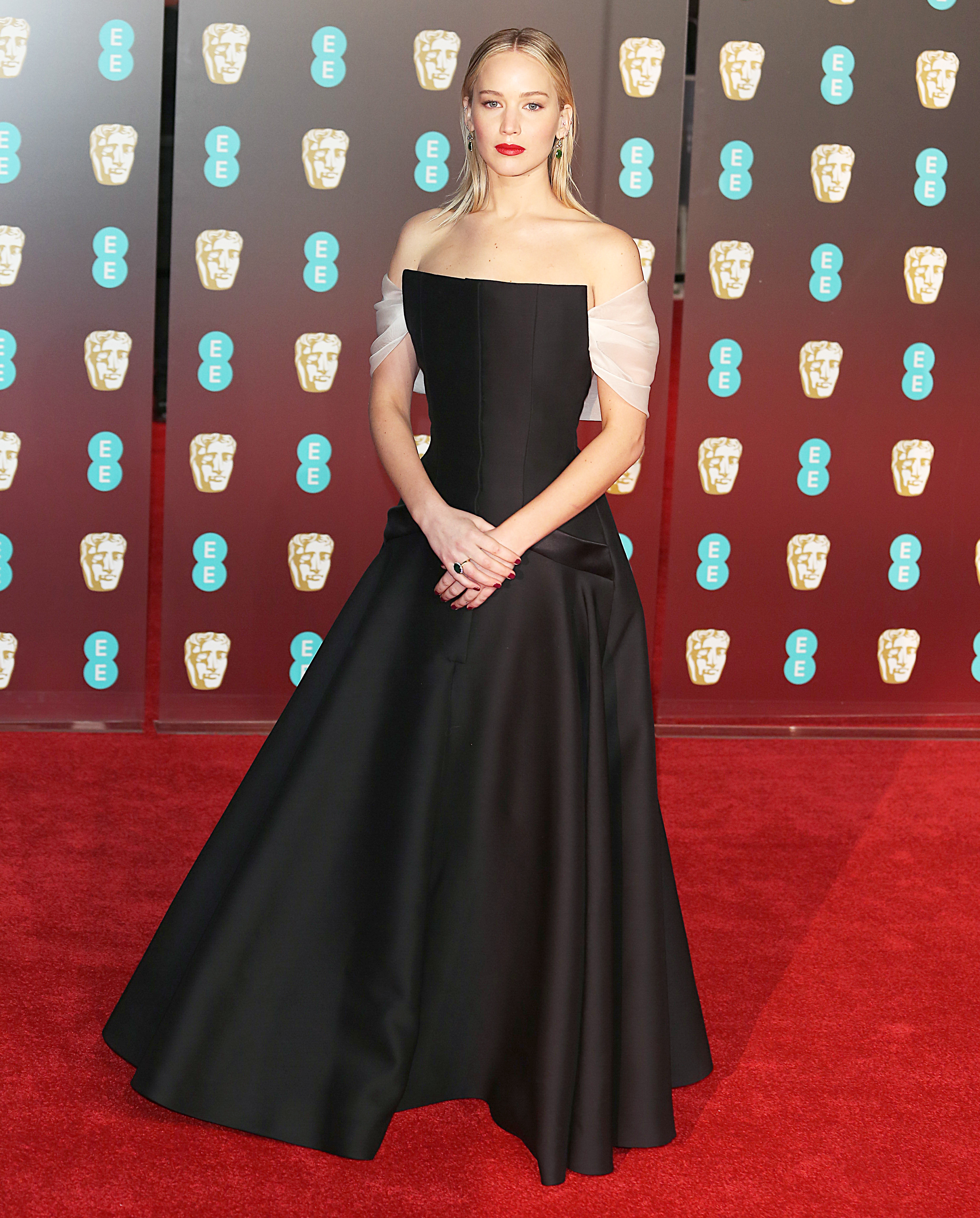 EE British Academy Film Awards 2018 (BAFTAs), Royal Albert Hall, London UK, 18 February 2018, Photo by Brett D. Cove <P> Pictured: Jennifer Lawrence <B>Ref: SPL1661265  190218  </B><BR/> Picture by: Brett D. Cove / Splash News<BR/> </P><P> <B>Splash News and Pictures</B><BR/> Los Angeles:310-821-2666<BR/> New York:212-619-2666<BR/> London:870-934-2666<BR/> <span id=