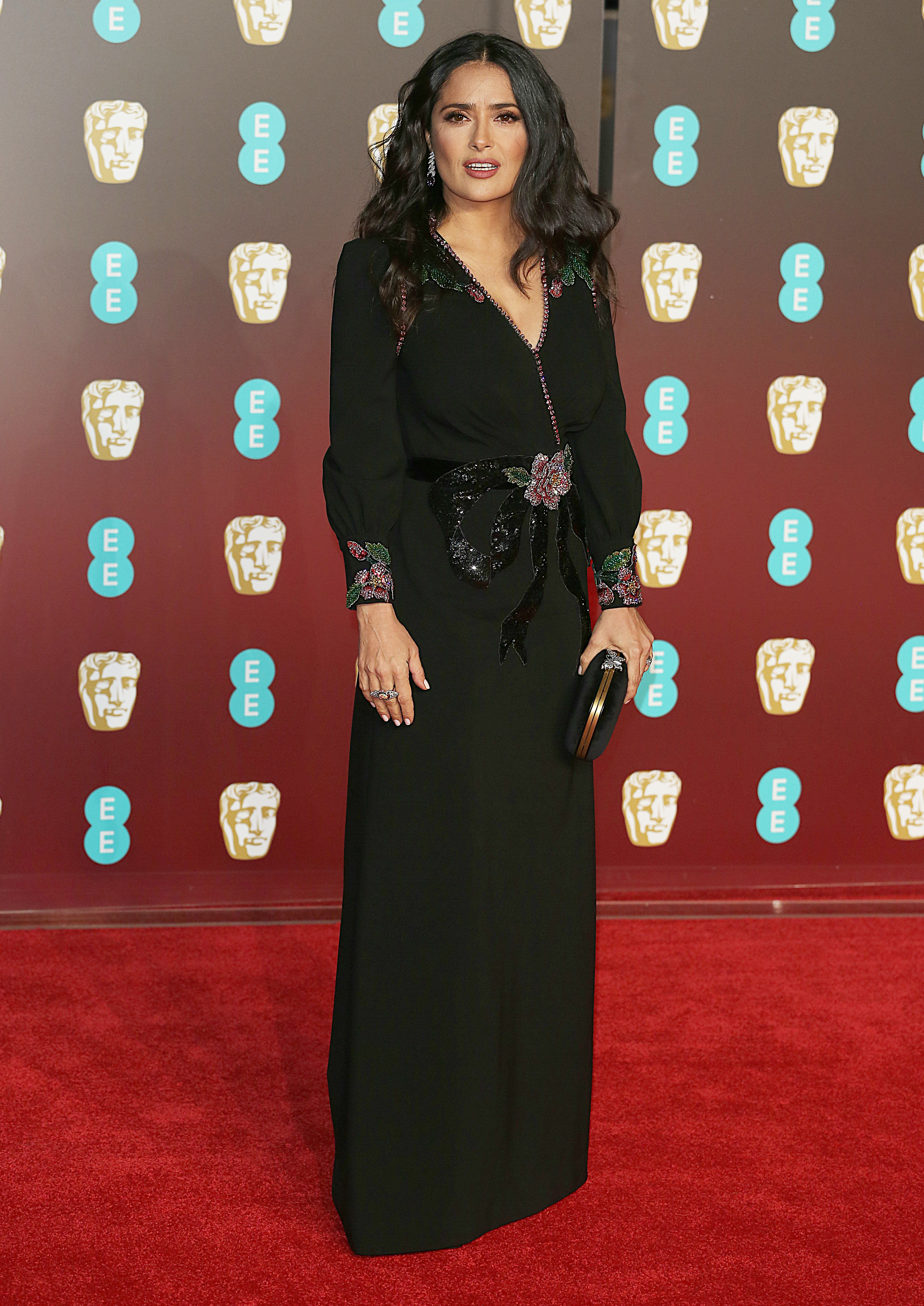 EE British Academy Film Awards 2018 (BAFTAs), Royal Albert Hall, London UK, 18 February 2018, Photo by Brett D. Cove <P> Pictured: Salma Hayek <B>Ref: SPL1661269  190218  </B><BR/> Picture by: Brett D. Cove / Splash News<BR/> </P><P> <B>Splash News and Pictures</B><BR/> Los Angeles:310-821-2666<BR/> New York:212-619-2666<BR/> London:870-934-2666<BR/> <span id=