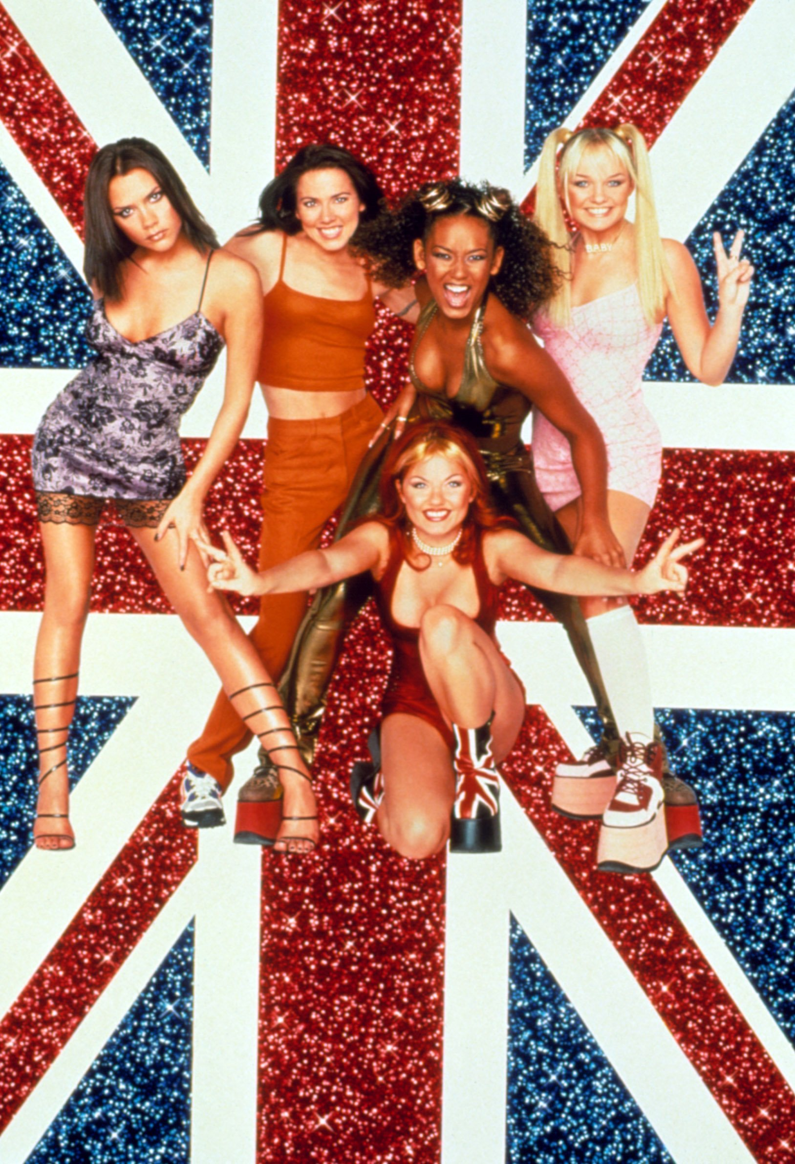 SPICE WORLD, Melanie Brown as Scary Spice, Emma Bunton as Baby Spice, Melanie Chisholm as Sporty Spice, Geri Halliwell as Ginger Spice, Victoria Beckham as Posh Spice, 1997, (c)Columbia Pictures/courtesy Everett Collection, Image: 98185023, License: Rights-managed, Restrictions: For usage credit please use; ©Columbia Pictures/Courtesy Everett Collection, Model Release: no, Credit line: Profimedia, Everett