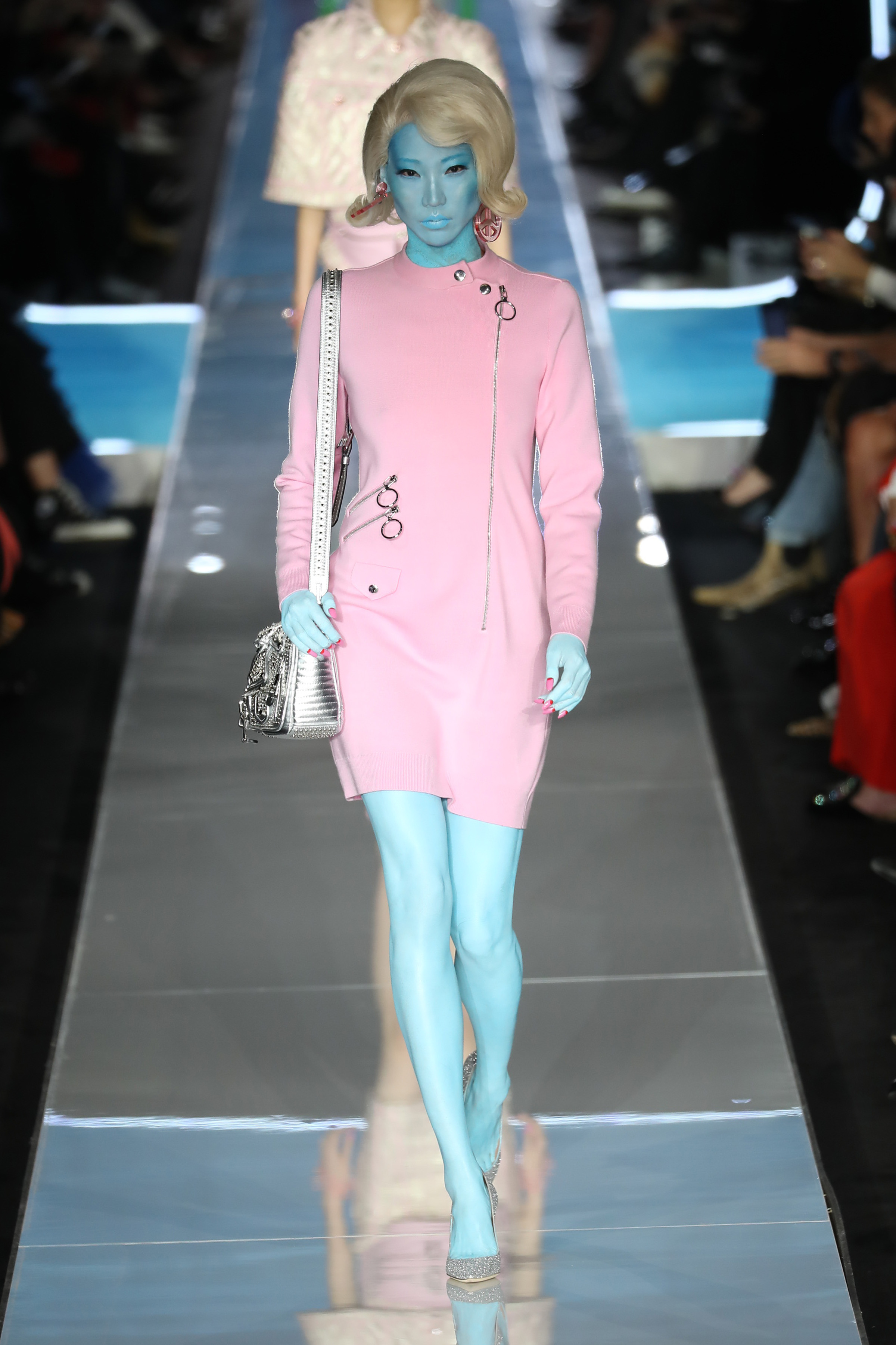 Milan/Italy - February 21 2018: A model walks the runway at the MOSCHINO show during Milan Fashion Week on February 21, 2018 in Milan, Italy. <P>  <B>Ref: SPL1662402  210218  </B><BR/> Picture by: Antonio Barros / Splash News<BR/> </P><P> <B>Splash News and Pictures</B><BR/> Los Angeles:310-821-2666<BR/> New York:212-619-2666<BR/> London:870-934-2666<BR/> <span id=
