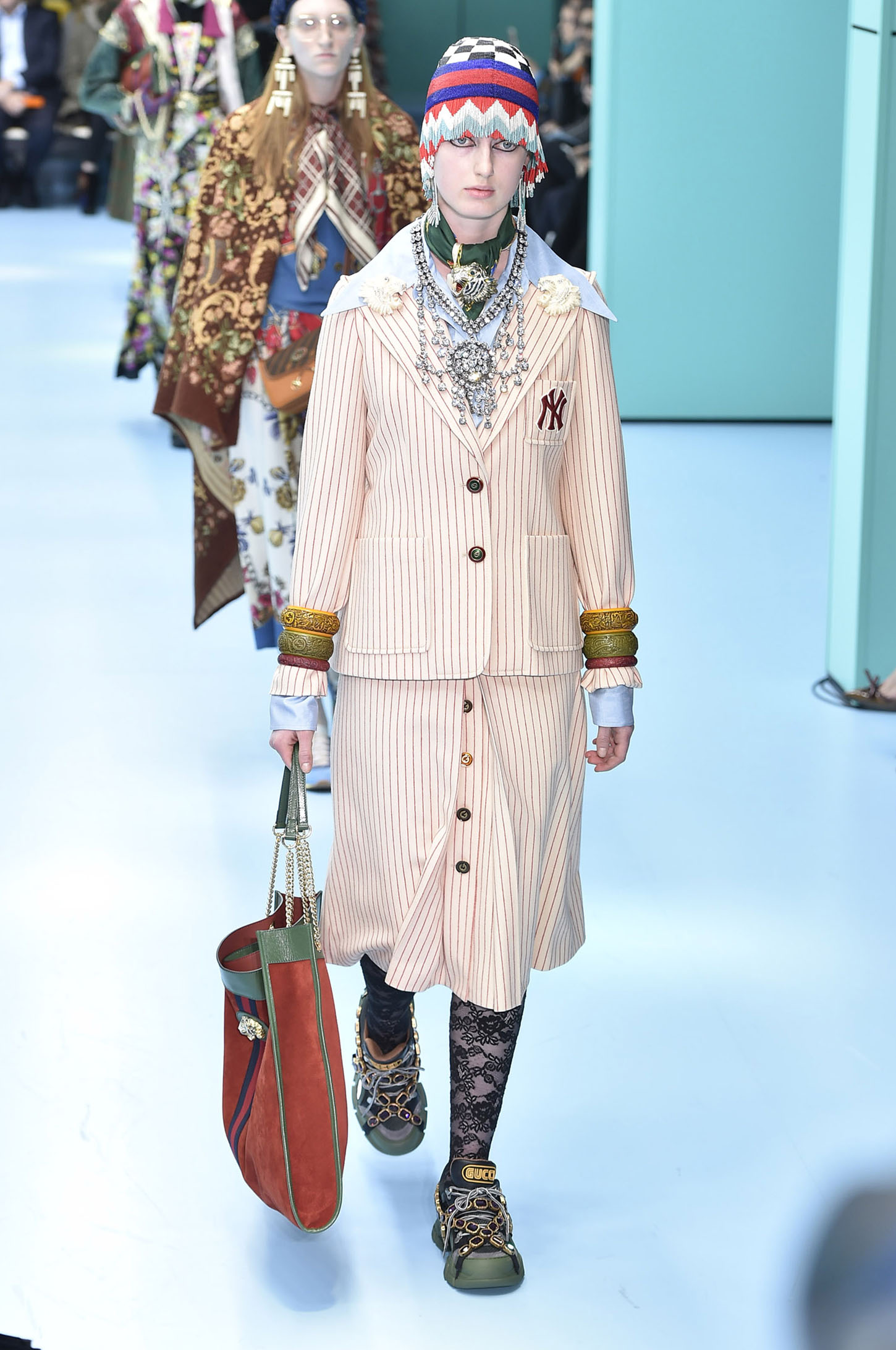 MILAN, ITALY - FEBRUARY 21:  A model walks the runway at the Gucci Autumn Winter 2018 fashion show during Milan Fashion Week on February 21, 2018 in Milan, Italy.  (Photo by Catwalking/Getty Images)