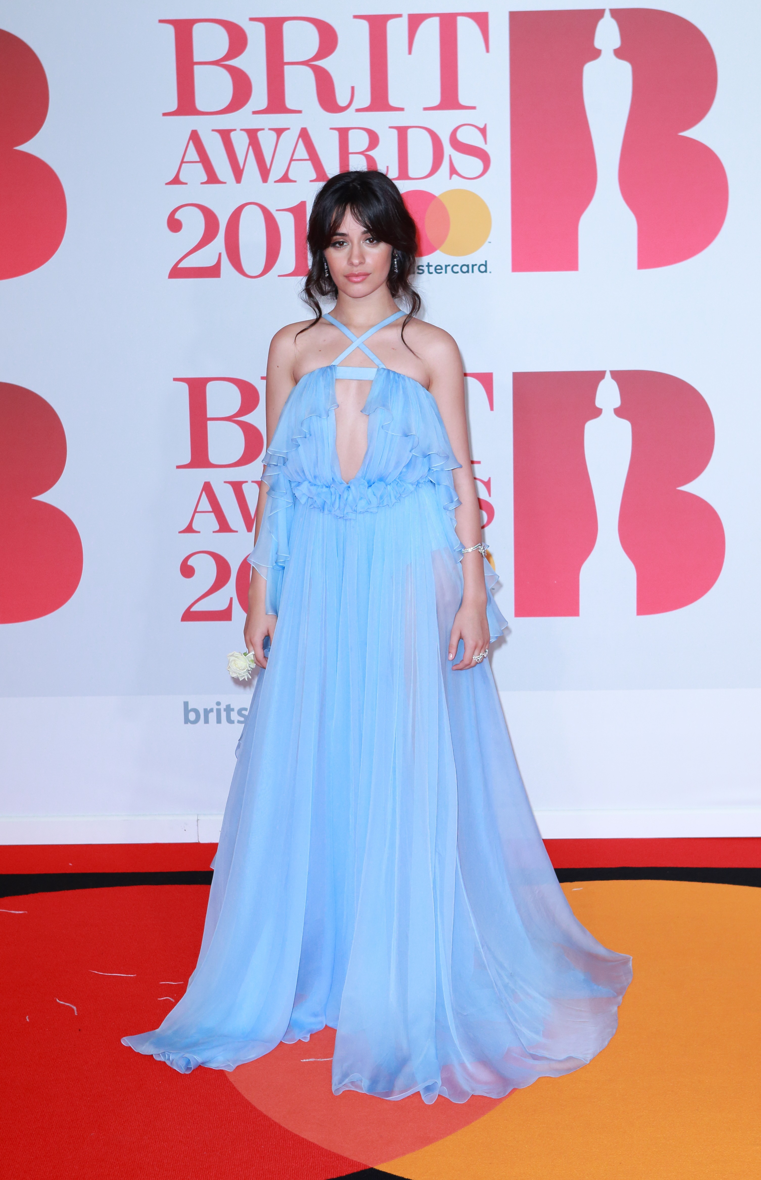 Celebrities arrive on the red carpet for the  BRIT Awards 2018 at the O2 in London, England, UK.       <P> Pictured: Camilla Cabello <B>Ref: SPL1662521  210218  </B><BR/> Picture by: Flynet - Splash News<BR/> </P><P> <B>Splash News and Pictures</B><BR/> Los Angeles:	310-821-2666<BR/> New York:	212-619-2666<BR/> London:	870-934-2666<BR/> <span id=