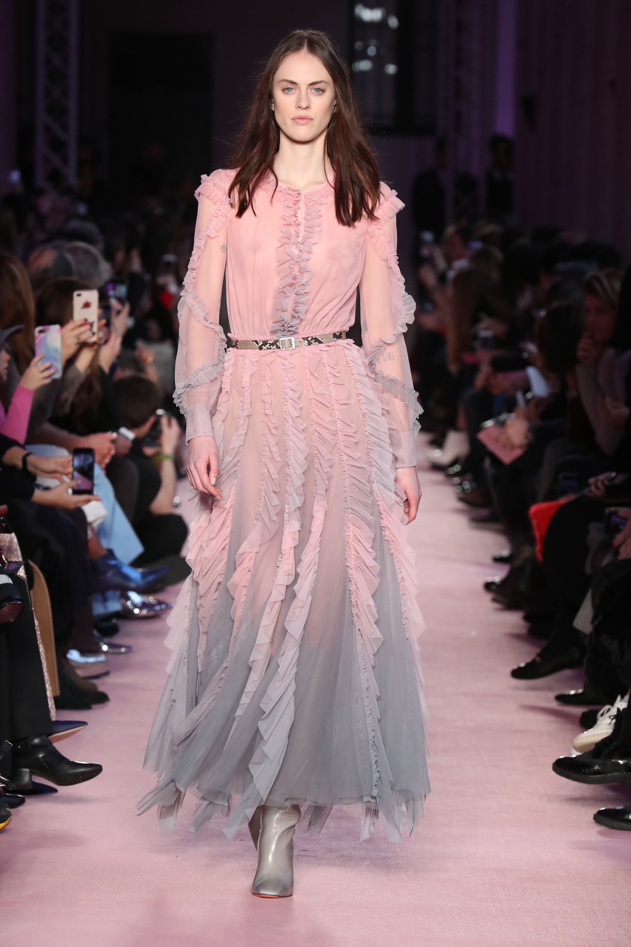 Milan/Italy - February 23 2018: A model walks the runway at the BLUMARINE show during Milan Fashion Week on February 23, 2018 in Milan, Italy. <P>  <B>Ref: SPL1662821  230218  </B><BR/> Picture by: Antonio Barros / Splash News<BR/> </P><P> <B>Splash News and Pictures</B><BR/> Los Angeles:310-821-2666<BR/> New York:212-619-2666<BR/> London:870-934-2666<BR/> <span id=