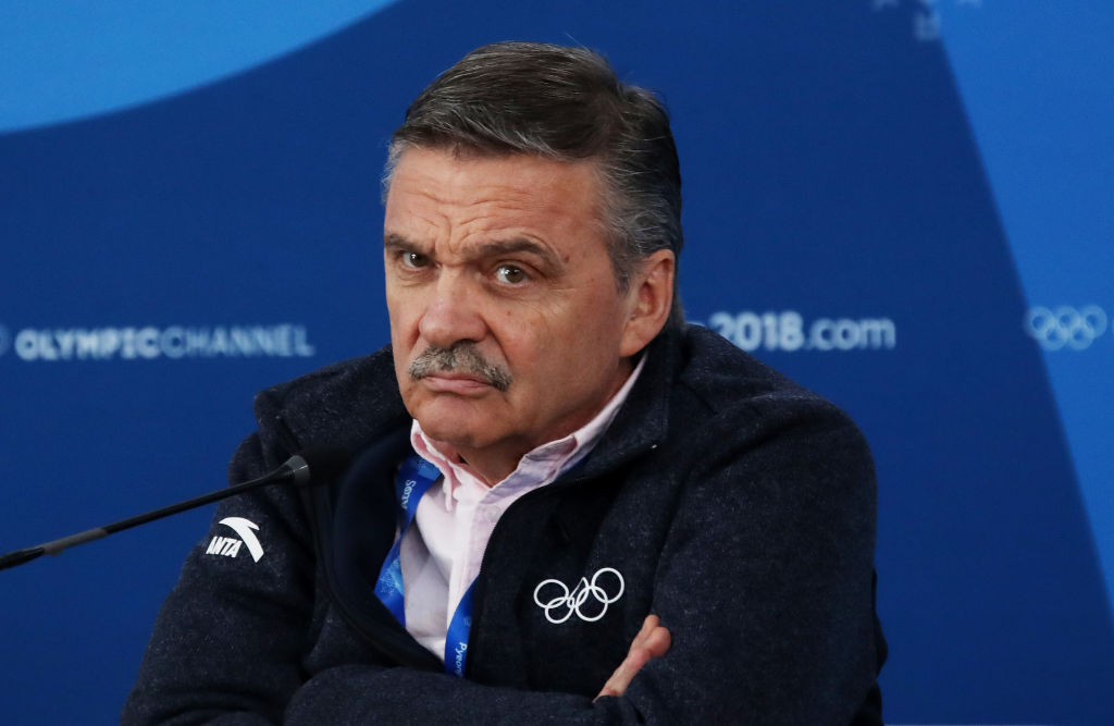 GANGNEUNG, SOUTH KOREA - FEBRUARY 19:  President of the International Ice Hockey Federation Rene Fasel speaks to the media prior to the Ice Hockey Women Play-offs Semifinals on day 10 of the PyeongChang 2018 Winter Olympic Games at Gangneung Hockey Centre on February 19, 2018 in Pyeongchang-gun, South Korea.  (Photo by Bruce Bennett/Getty Images)