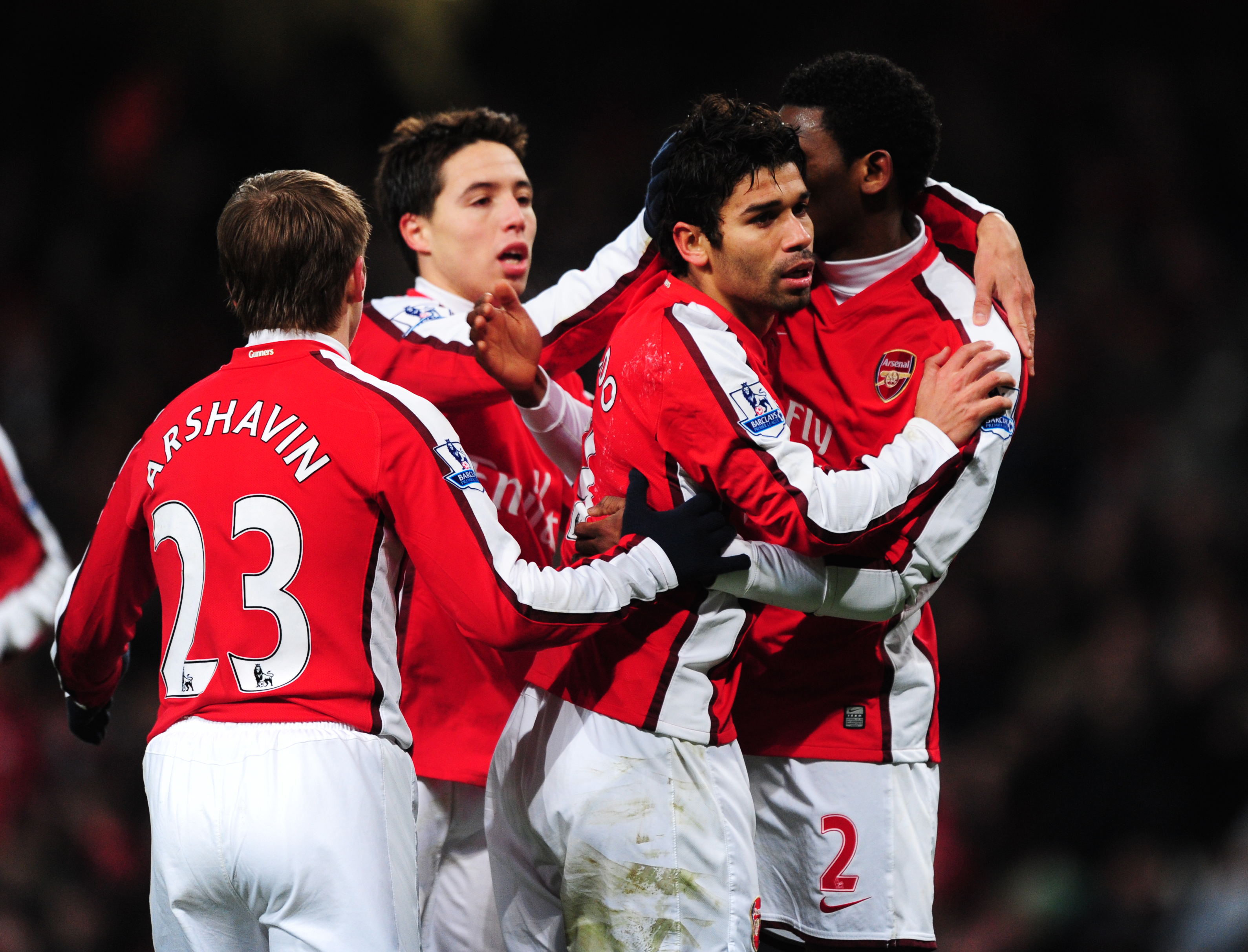 LONDON, ENGLAND - DECEMBER 19:  Eduardo of Arsenal is congratulated by team mates after scoring the second goal of the game during the Barclays Premier League match between Arsenal and Hull City at the Emirates Stadium on December 19, 2009 in London, England.  (Photo by Mike Hewitt/Getty Images)