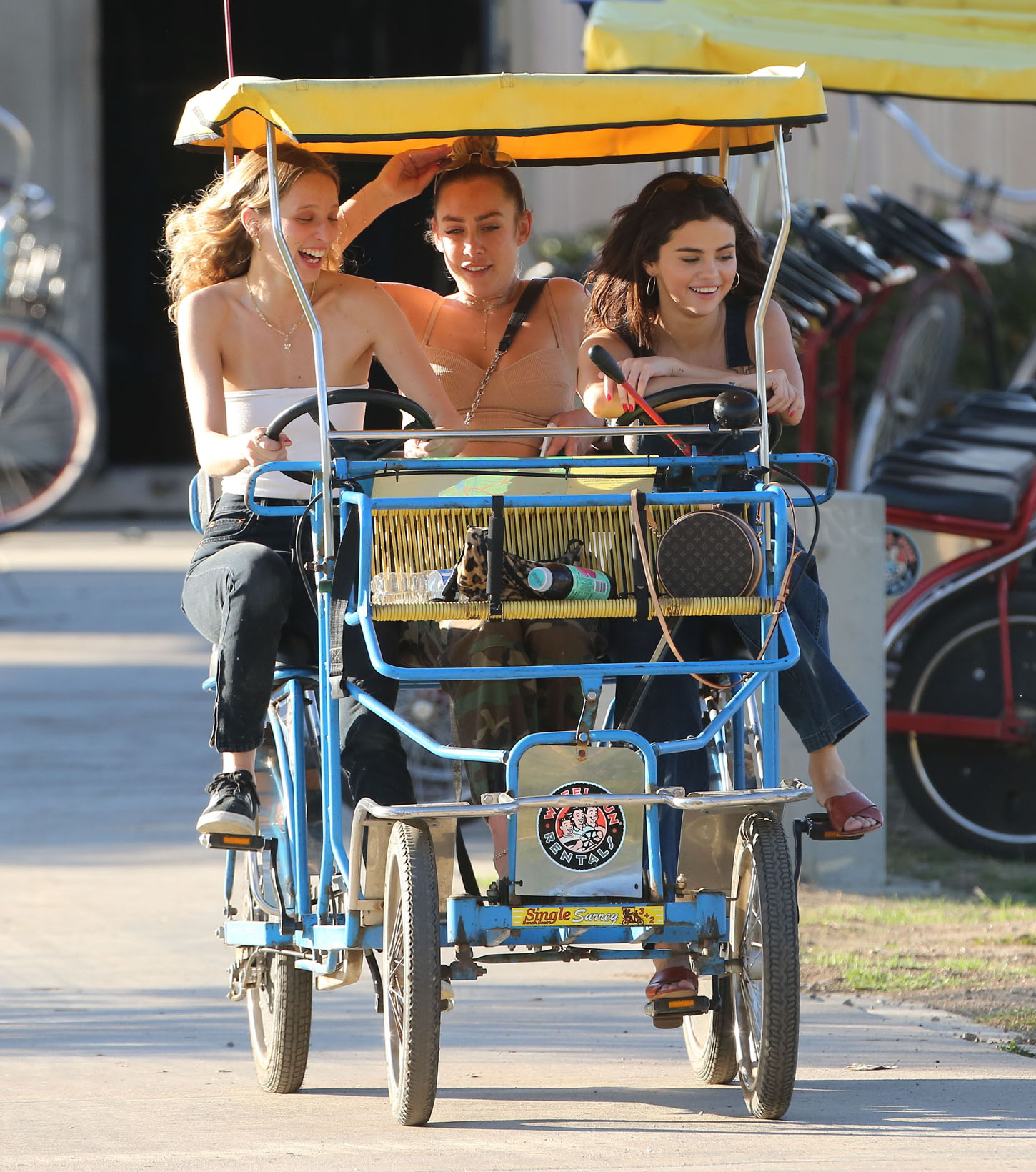 Selena Gomez and friends dropped by the park, fed the ducks and took a bike-cart out for a ride, on Friday, February 2, 2018  X17online.com