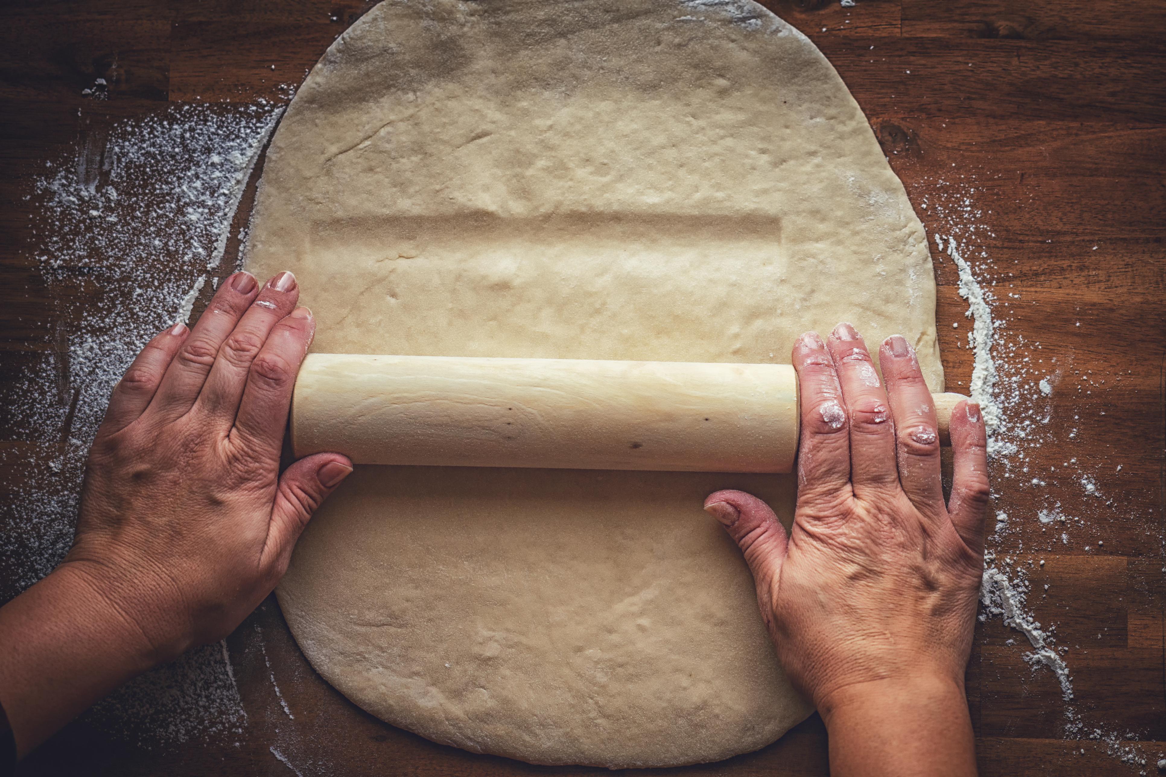 Rolling Dough for Cinnamon Buns
