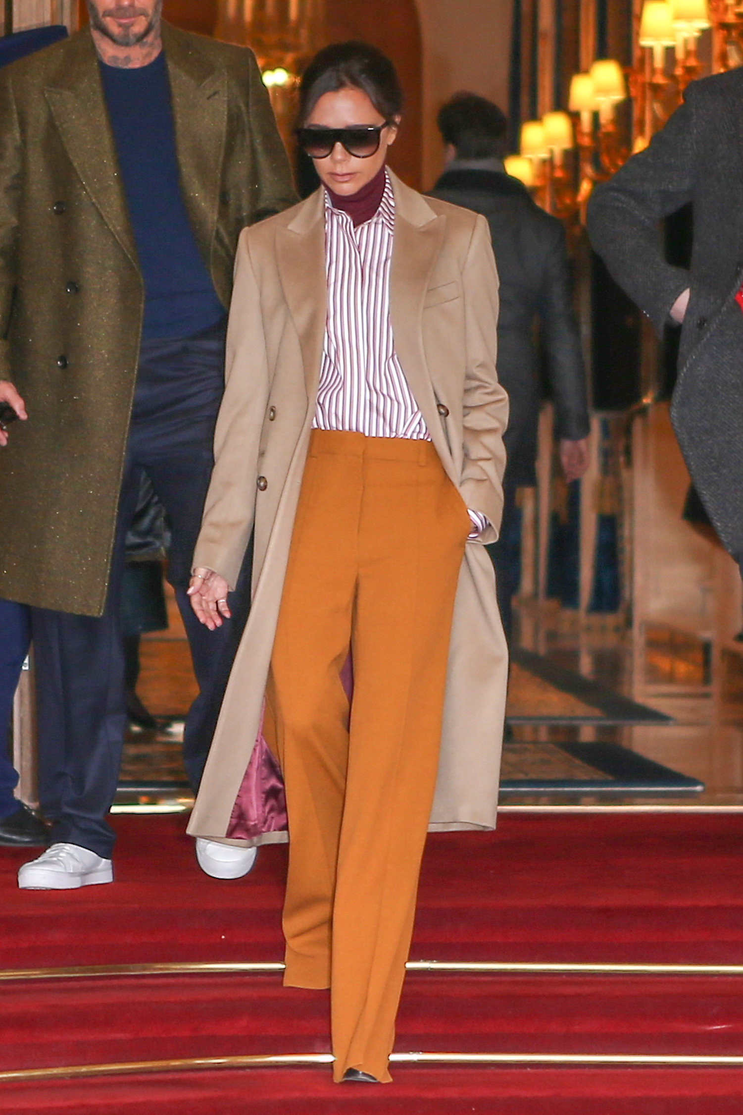 David Beckham, Victoria Beckham and Brooklyn Beckham are seen leaving the Ritz Hotel in Paris, FRANCE on January 18, 2018 <P> Pictured: David Beckham, Victoria Beckham and Brooklyn Beckham <B>Ref: SPL1647530  180118  </B><BR/> Picture by: Splash News<BR/> </P><P> <B>Splash News and Pictures</B><BR/> Los Angeles:310-821-2666<BR/> New York:212-619-2666<BR/> London:870-934-2666<BR/> <span id=