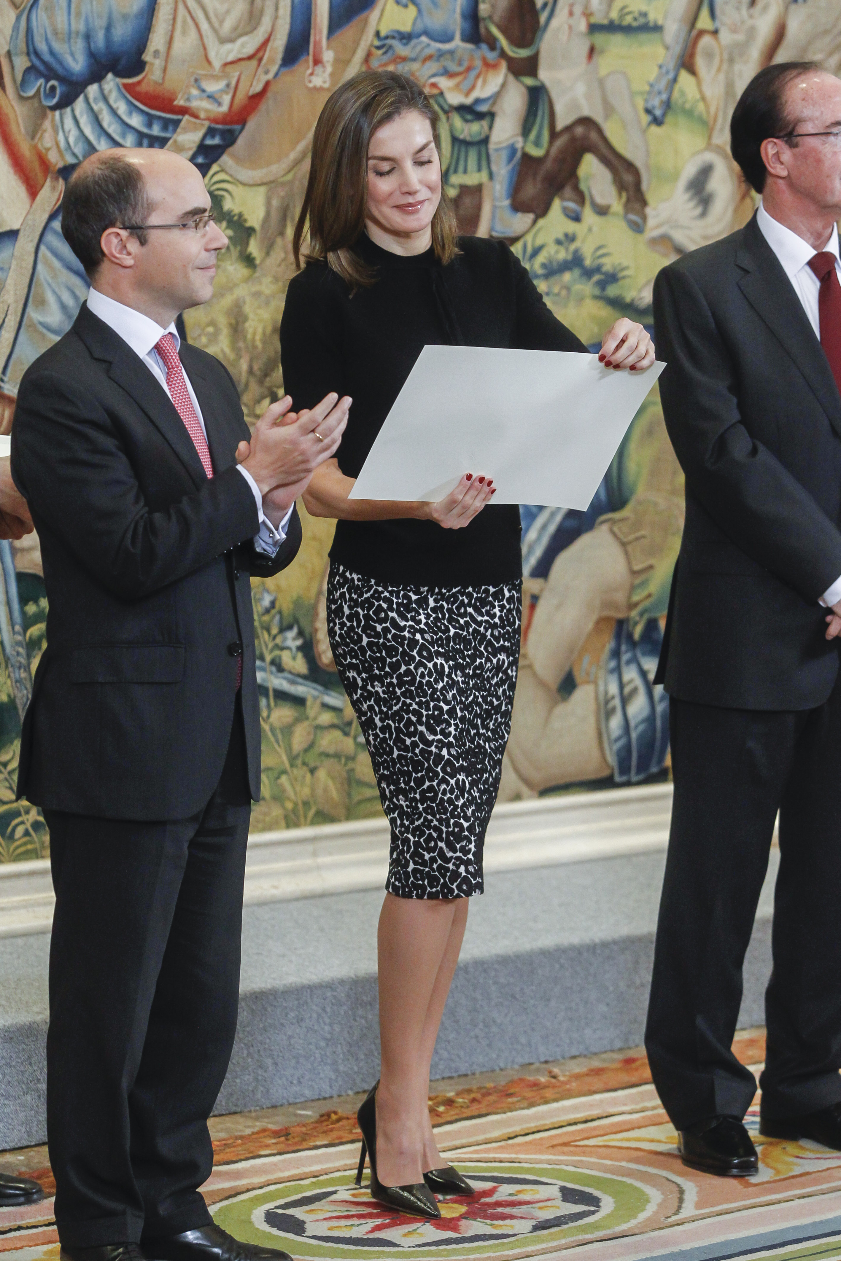 Queen Letizia attends the delivery of the Tomas Francisco Prieto awards at Zarzuela Palace in Madrid, Spain <P> Pictured: Queen Letizia <B>Ref: SPL1656017  090218  </B><BR/> Picture by: Michael Murdock / Splash News<BR/> </P><P> <B>Splash News and Pictures</B><BR/> Los Angeles:310-821-2666<BR/> New York:212-619-2666<BR/> London:870-934-2666<BR/> <span id=