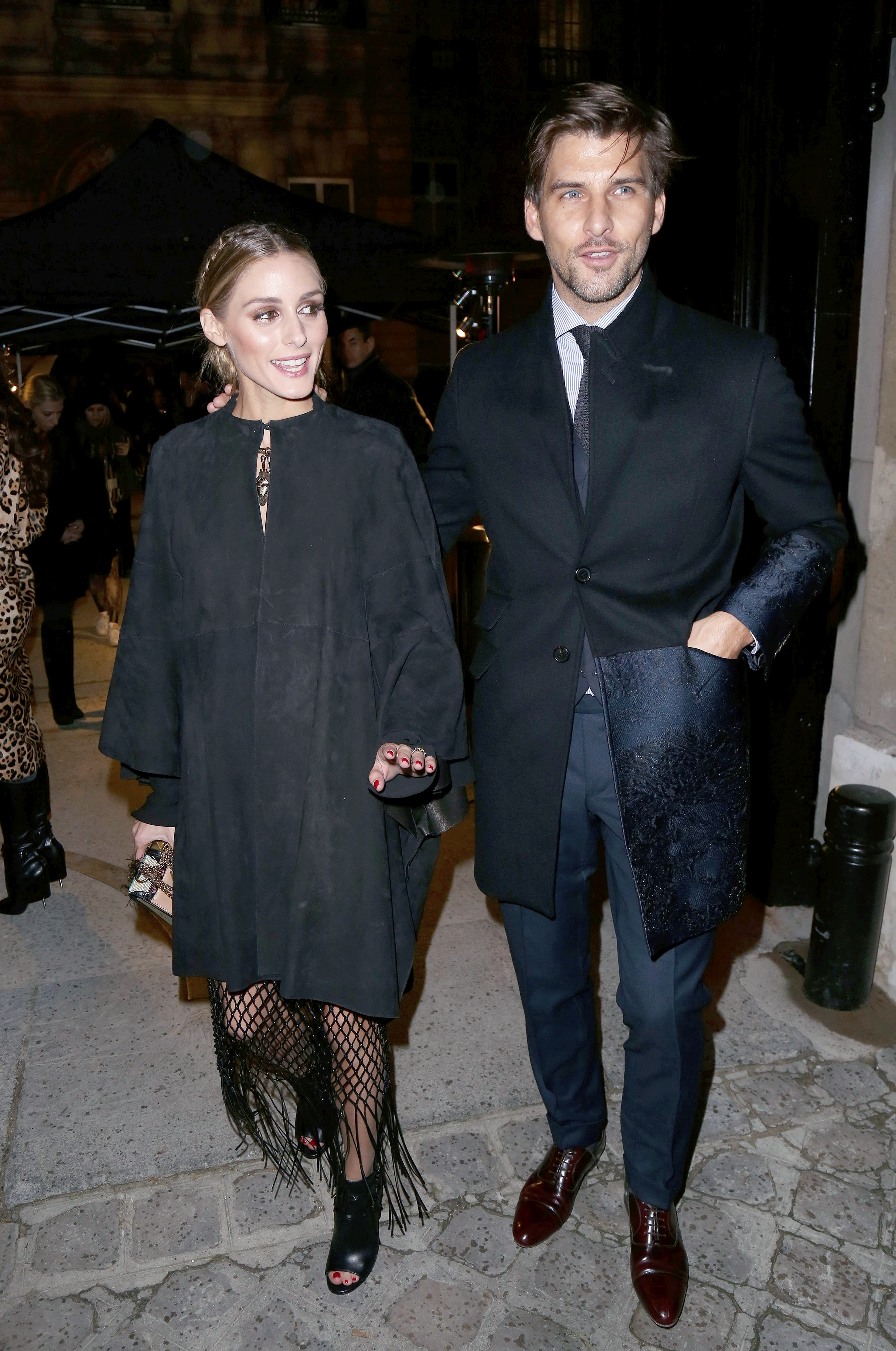 Olivia Palermo and Johannes Huebl at the Valentino Haute Couture fashion show during Paris Fashion Week. January 27, 2016 X17online.com USA ONLY