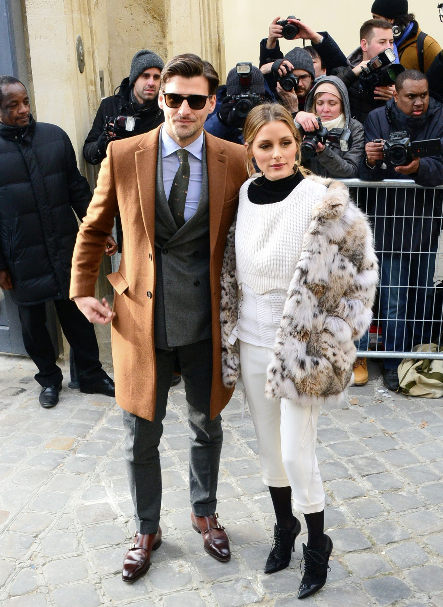 Olivia Palermo and Johannes Huebl attending the Christian Dior Haute Couture Spring Summer 2017 fashion show as part of Paris Fashion Week. January 23, 2017 X17online.com USA ONLY