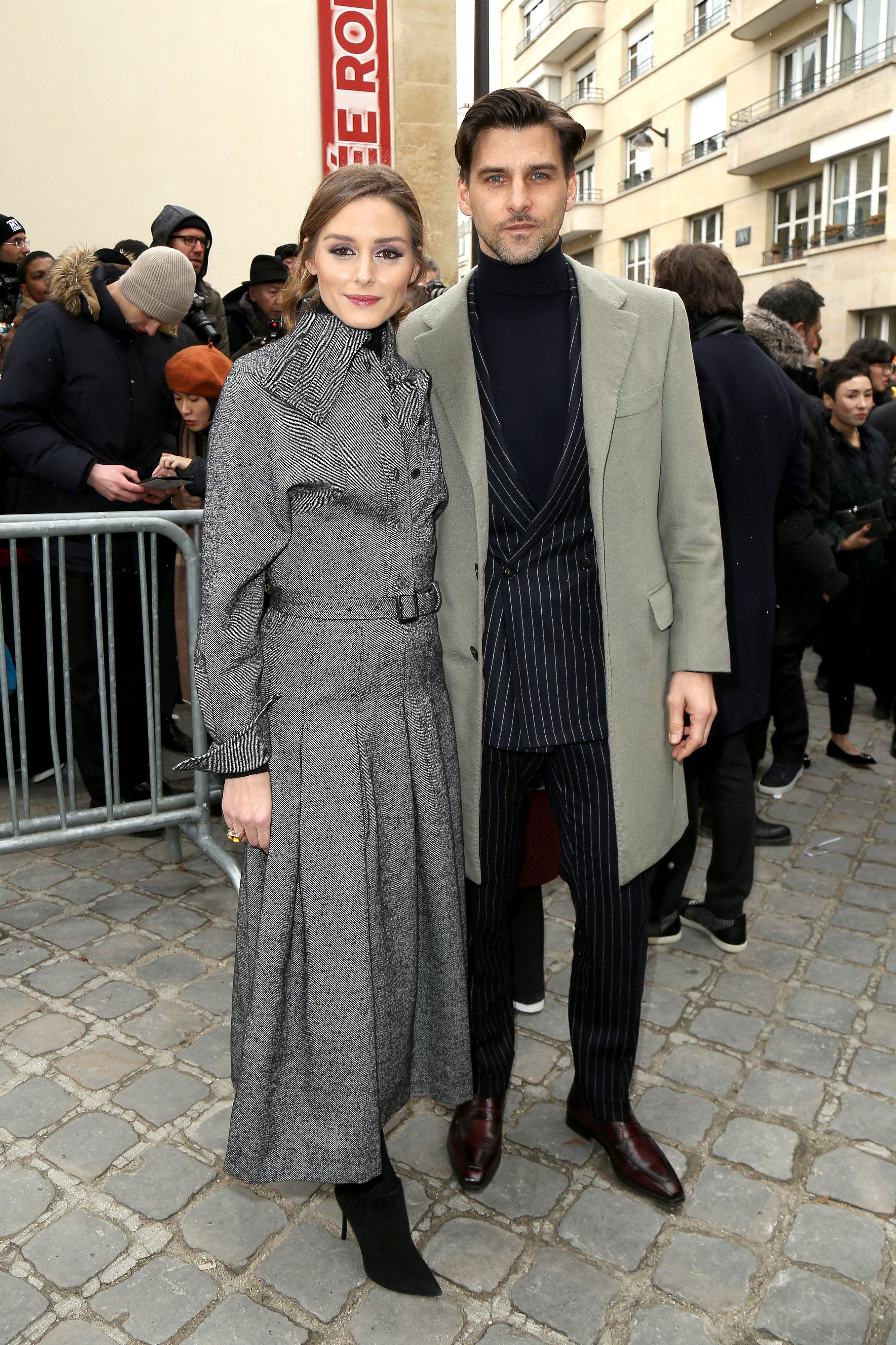 Olivia Palermo and husband Johannes Huebl arrive at the Christian Dior fashion show as the best dressed couple in Paris during the festivities of fashion week. February 27, 2018 X17online.com USA ONLY