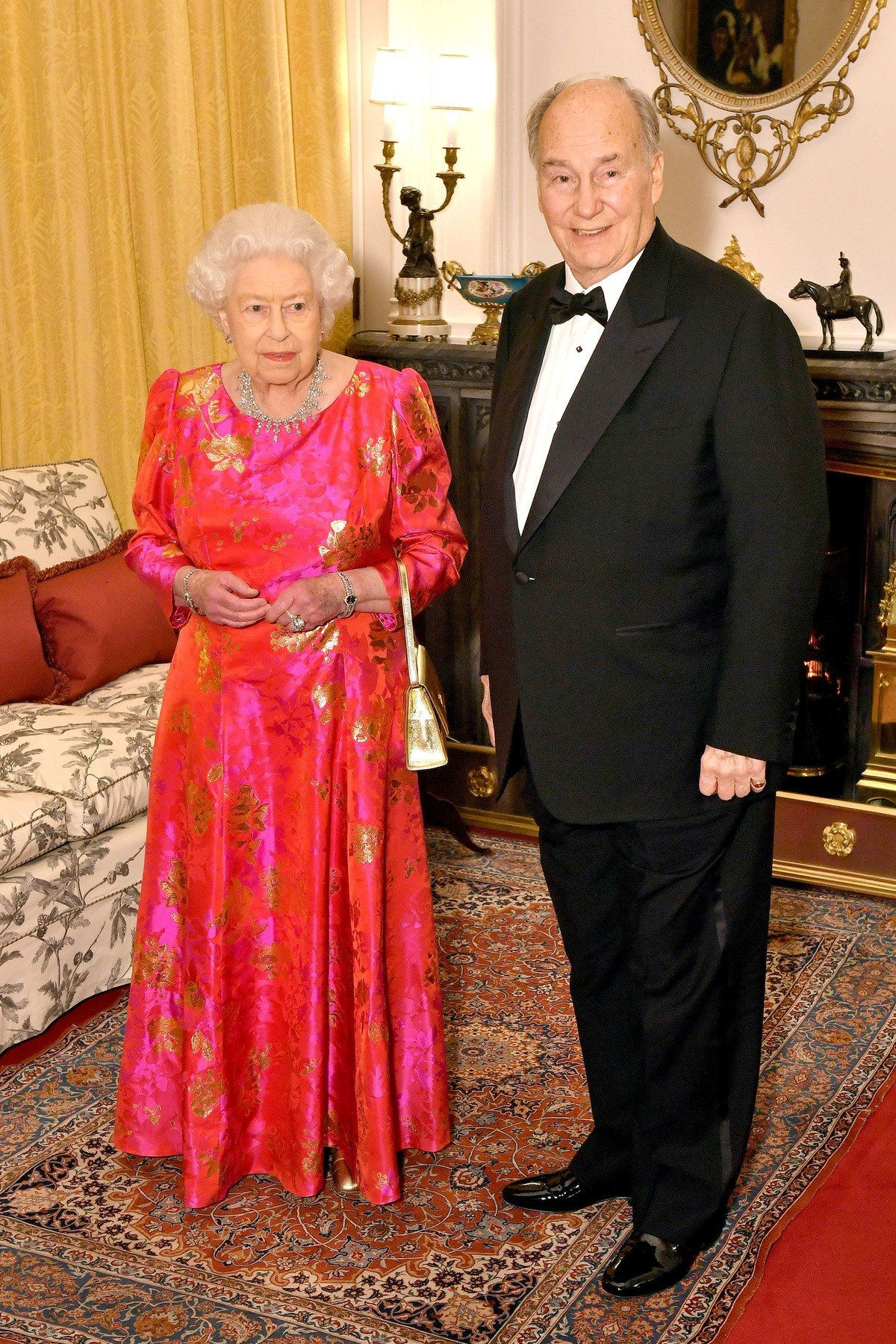 The Queen Elizabeth II and the Aga Khan in the Oak Room at Windsor Castle before she hosts a private dinner in honour of the diamond jubilee of his leadership as Imam of the Shia Ismaili Muslim Community., Image: 365524179, License: Rights-managed, Restrictions: , Model Release: no, Credit line: Profimedia, Press Association
