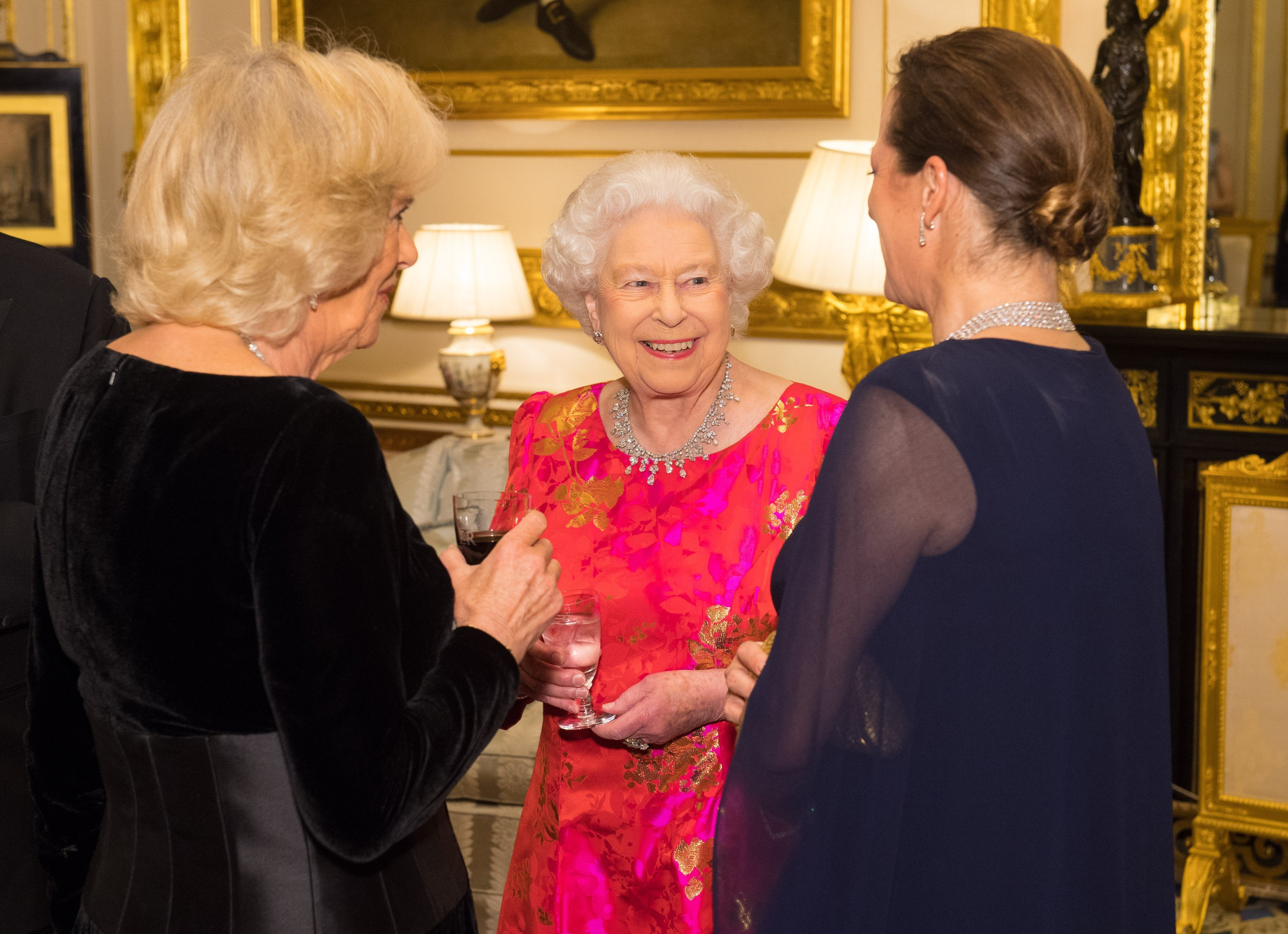 Queen Elizabeth II with the Duchess of Cornwall (left) and Princess Zahra Aga Khan in the White Drawing Room at Windsor Castle, during a reception before a private dinner to mark the diamond jubilee of the Aga Khan's leadership as Imam of the Shia Ismaili Muslim Community.   Thursday March 8, 2018., Image: 365582722, License: Rights-managed, Restrictions: WORLD RIGHTS - Fee Payable Upon Reproduction - For queries contact Avalon.red - sales@avalon.red London: +44 (0) 20 7421 6000 Los Angeles: +1 (310) 822 0419 Berlin: +49 (0) 30 76 212 251 Madrid: +34 91 533 4289, Model Release: no, Credit line: Profimedia, UPPA News
