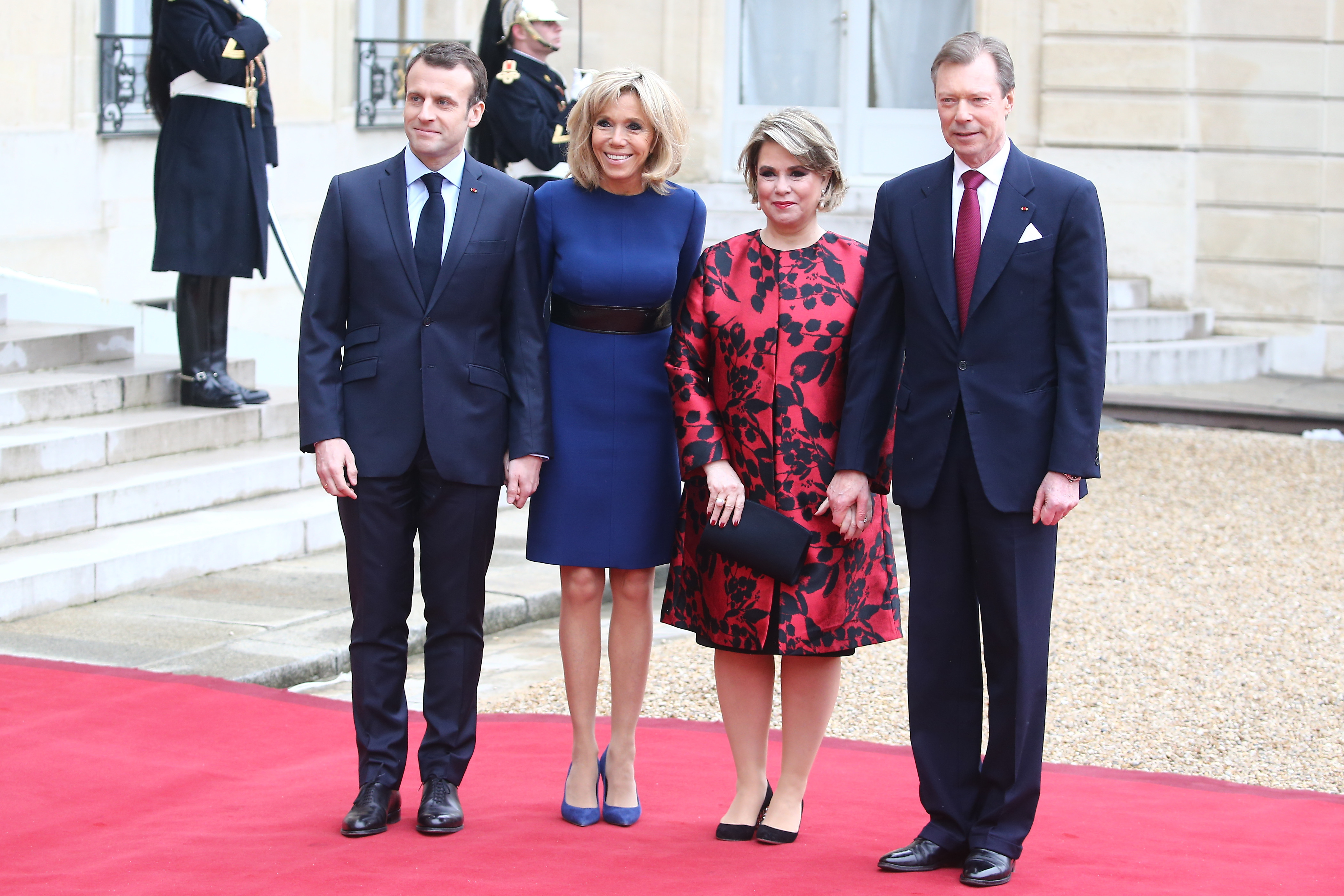 Maria Teresa, Grand Duchess of Luxembourg, Henri, Grand Duke of Luxembourg, French President Emmanuel Macron and Brigitte Macron pose in the courtyard of Elysee Palace on March 19, 2018 in Paris, France. <P> Pictured: Brigitte Macron, Maria Teresa Grand Duchess of Luxembourg, Henri Grand Duke of Luxembourg and French President Emmanuel Macron  <B>Ref: SPL1672783  190318  </B><BR/> Picture by: Splash News<BR/> </P><P> <B>Splash News and Pictures</B><BR/> Los Angeles:	310-821-2666<BR/> New York:	212-619-2666<BR/> London:	870-934-2666<BR/> <span id=
