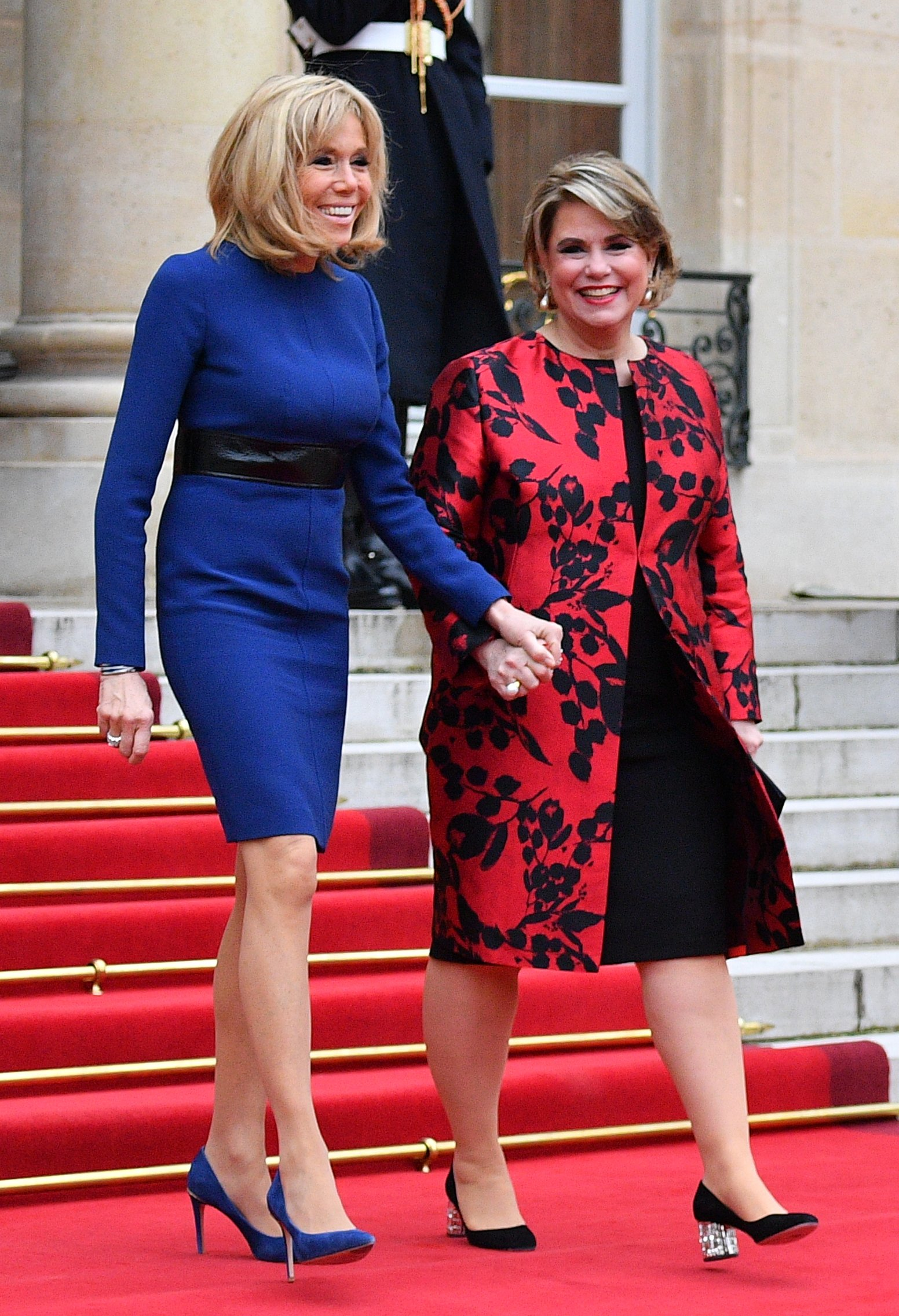Grand Duchess Maria Teresa and Grand Duke Henri of Luxembourg, French President Emmanuel Macron and Brigitte Macron pose in the courtyard of Elysee Palace in Paris, France,on March 19, 2018., Image: 366384845, License: Rights-managed, Restrictions: , Model Release: no, Credit line: Profimedia, Abaca