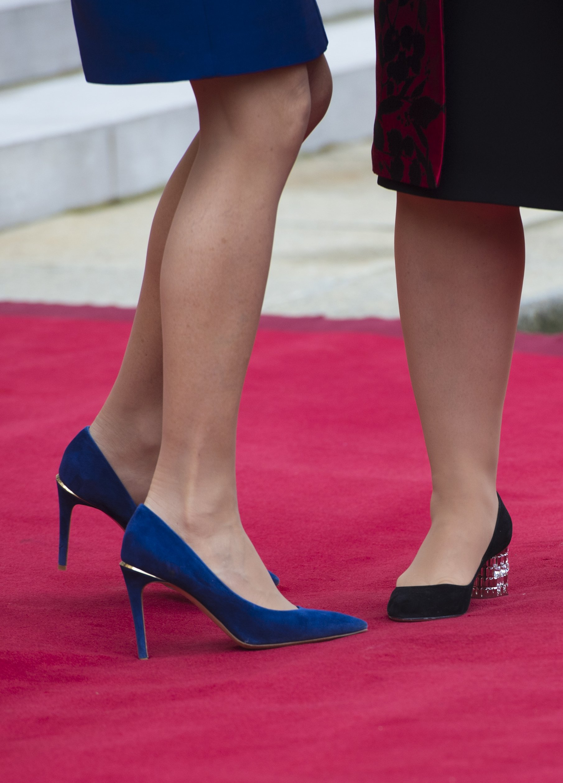 Brigitte Macron (Blue shoes) and Grand Duchess Maria Teresa of Luxembourg at Elysee Palace on March 19, 2018 in Paris, France., Image: 366375757, License: Rights-managed, Restrictions: , Model Release: no, Credit line: Profimedia, Abaca
