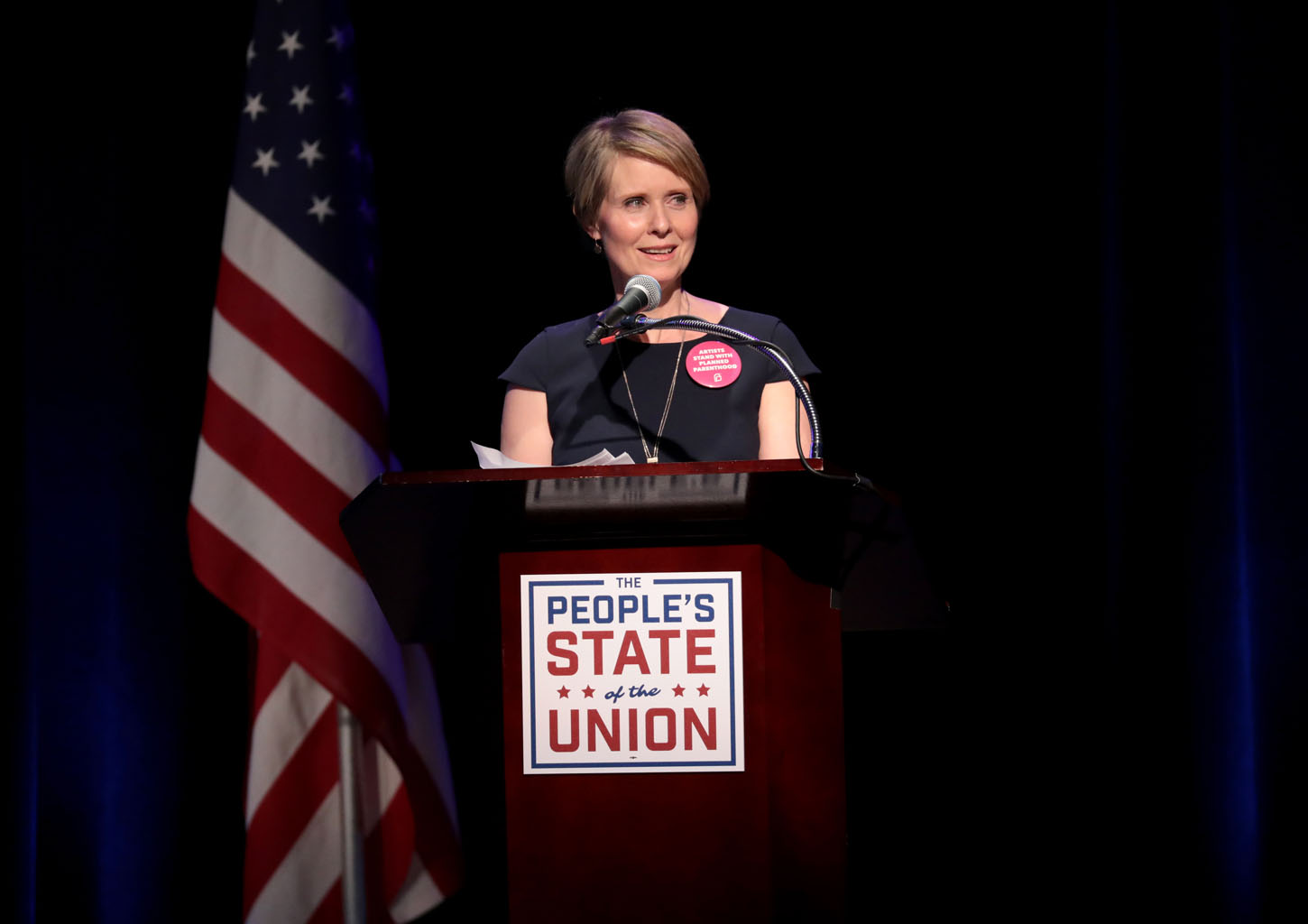 NEW YORK, NY - JANUARY 29:  Actress Cynthia Nixon speaks onstage at The People's State Of The Union at Townhall on January 29, 2018 in New York City.  (Photo by Cindy Ord/Getty Images for We Stand United)