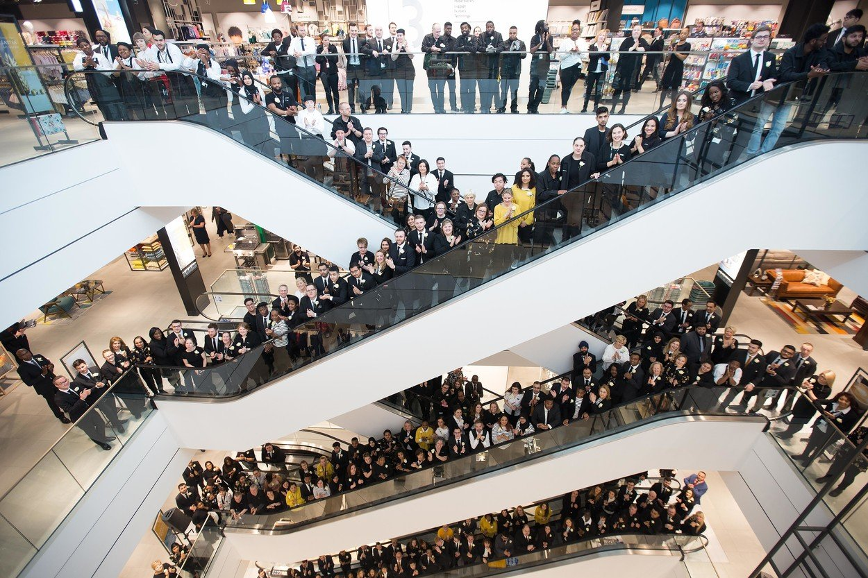 John Lewis Partners get ready to welcome the first customers through the doors of the retailer's 50th shop at White City, Westfield London, the anchor of the Ł600m Westfield London extension. John Lewis Westfield Opening, London, UK - 20 Mar 2018, Image: 366450408, License: Rights-managed, Restrictions: , Model Release: no, Credit line: Profimedia, TEMP Rex Features