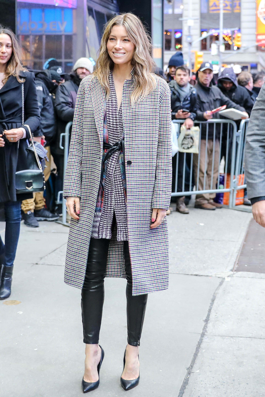 February 12, 2018 - New York, New York, U.S - Actress Jessica Biel is seen arriving at 'Good Morning America' in New York City. (Credit Image: � William Volcov via ZUMA Wire) <P> Pictured: Jessica Biel <B>Ref: SPL1658987  120218  </B><BR/> Picture by: Zuma / Splash News<BR/> </P><P> <B>Splash News and Pictures</B><BR/> Los Angeles:310-821-2666<BR/> New York:212-619-2666<BR/> London:870-934-2666<BR/> <span id=