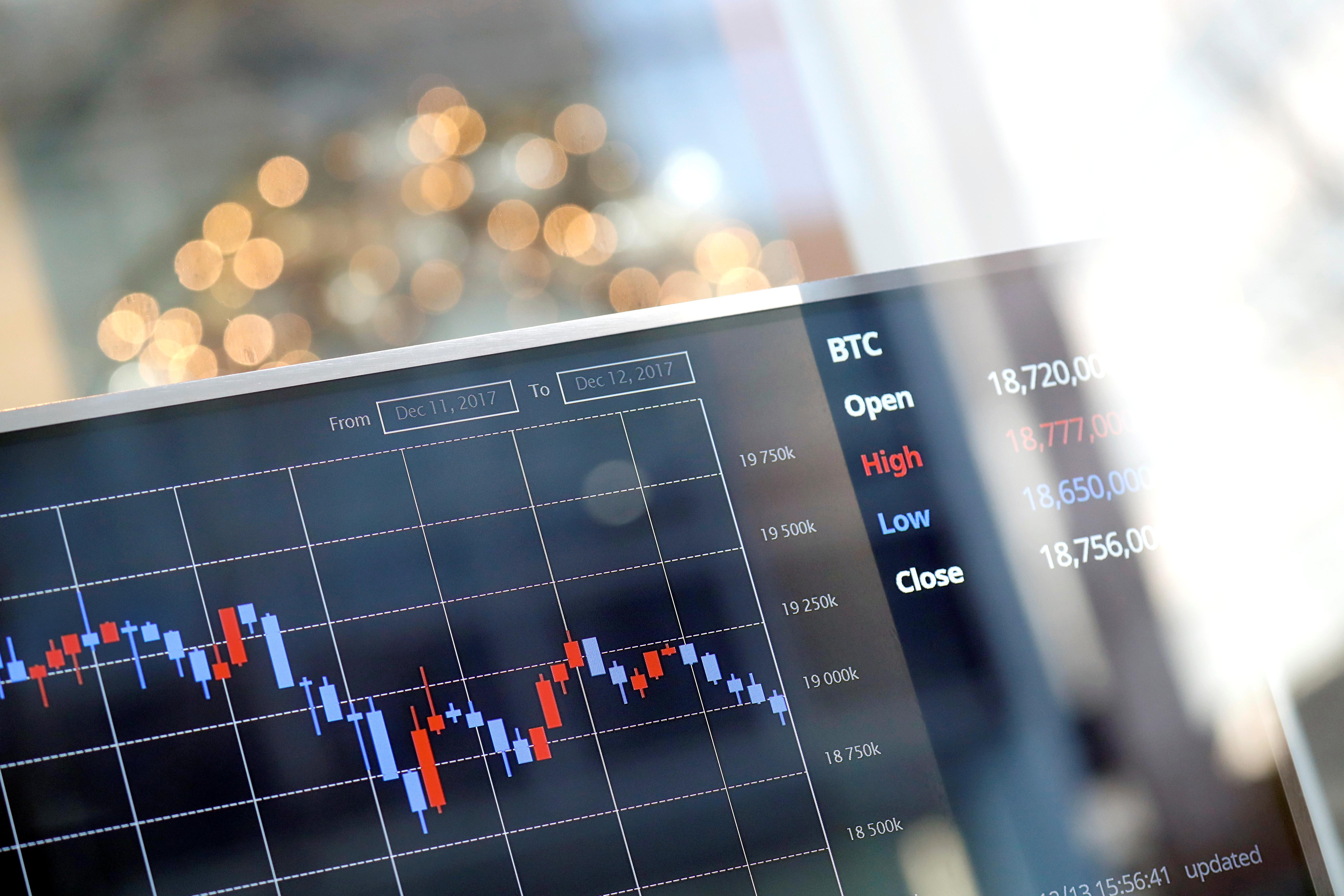 Ilustracija, tečaj koji prati vrijednost Bitcoina u odnosu na južnokorejski Won