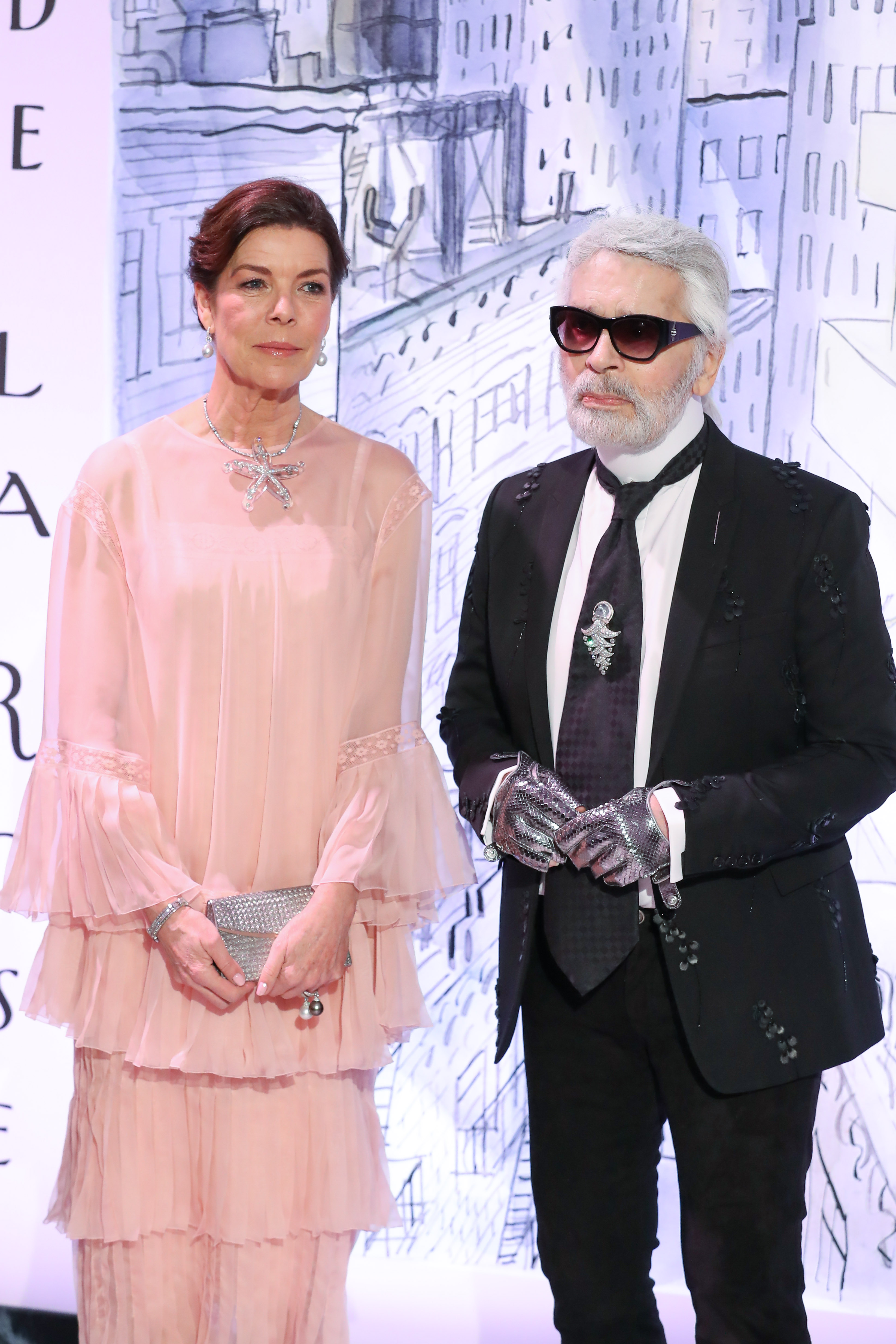 Monaco Rose Ball 2018 around the theme of Manhattan, at the Monte-Carlo Sporting Club, in Monaco.  <P> Pictured: Princess Caroline of Hanover and Karl Lagerfeld <B>Ref: SPL1675305  250318  </B><BR/> Picture by: Splash News<BR/> </P><P> <B>Splash News and Pictures</B><BR/> Los Angeles:310-821-2666<BR/> New York:212-619-2666<BR/> London:870-934-2666<BR/> <span id=