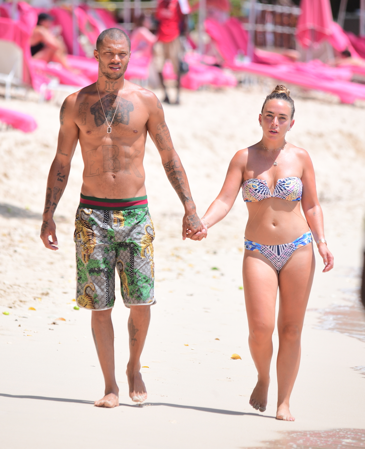 Hot Felon Jeremy Meeks and Topshop Heiress Chloe Green were spotted enjoying another day on the beach in Barbados. They held hands walking on the beach as they walked over to get on Jet skis. <P> Pictured: Jeremy Meeks, Chloe Green <B>Ref: SPL1550930  050817  </B><BR/> Picture by: 247PAPS.TV / Splash News<BR/> </P><P> <B>Splash News and Pictures</B><BR/> Los Angeles:	310-821-2666<BR/> New York:	212-619-2666<BR/> London:	870-934-2666<BR/> <span id=