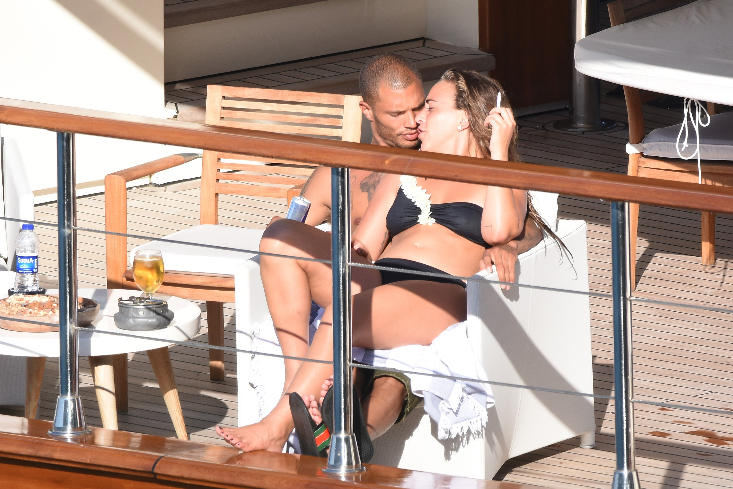 NO WEB NO APPS IN FRANCE - Exclusive - US Hot Convict turned model and DJ Jeremy Meeks (married to another) with his girlfriend UK heiress Chloe Green on vacation in Bodrum, Mugla, Turkey, on June 28, 2017. Jeremy Meeks, along with girlfriend and his manager during a blue voyage trip with the yacht Hazar Yıldızı sail along the bays of Bodrum., Image: 340003775, License: Rights-managed, Restrictions: , Model Release: no, Credit line: Profimedia, Abaca