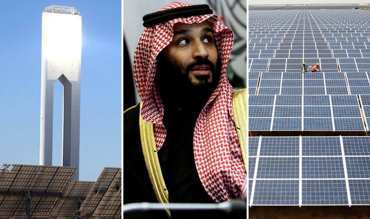 Solarni tornanj u Španjolskoj, saudijski princ Mohamed bin Salman i solarna farma u Indiji