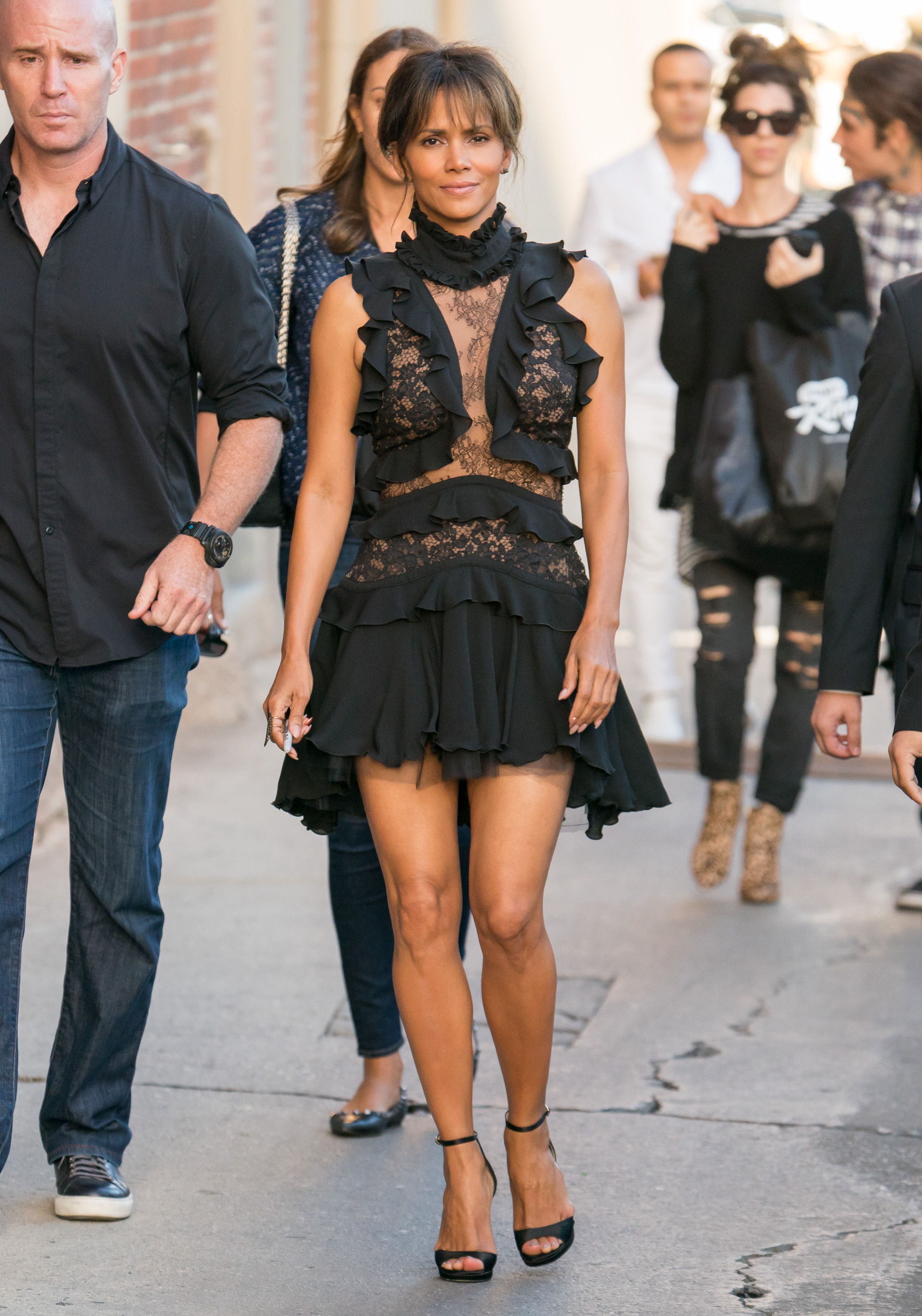Halle Berry is seen at 'Jimmy Kimmel Live' in Los Angeles, California. <P> Pictured: Halle Berry <B>Ref: SPL1585564  210917  </B><BR/> Picture by: RB/Bauergriffin.com<BR/> </P><P>