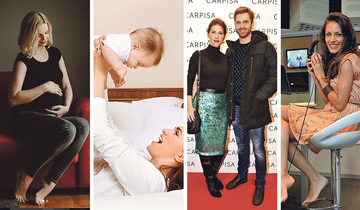 S lijeva da desno: Novinarka Edita Misirić rodit će za koji tjedan; Marijana Mikulić s prvim sinom, upravo je objavila da čeka treće dijete; Jelena Perčin i Momčilo Otašević dobit će prvo zajedničko dijete; Navodno je trudna i Nives Ivanišević