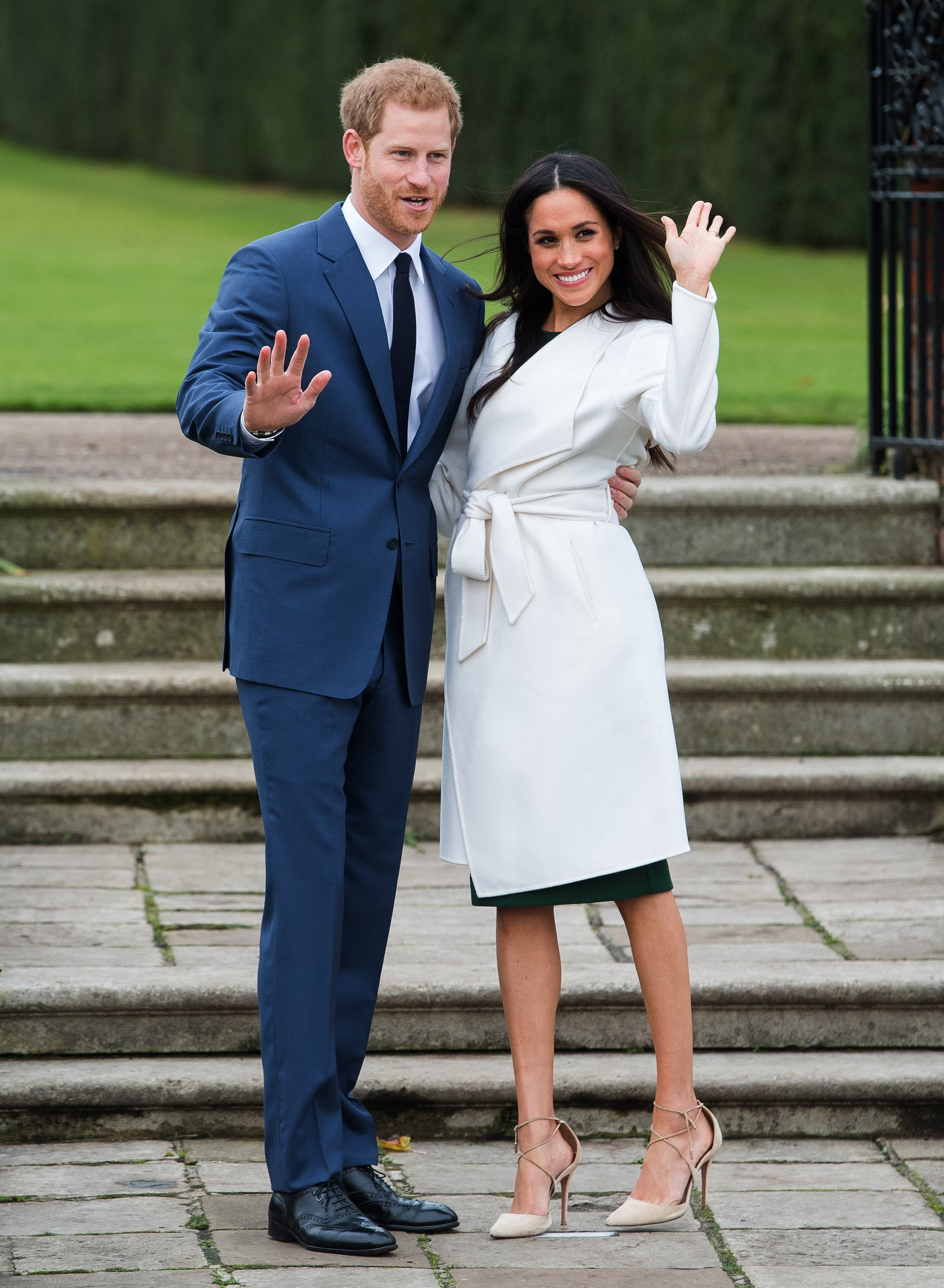 Prince Harry and Meghan Markle in the Sunken Garden at Kensington Palace, London, after the announcement of their engagement., Image: 356277552, License: Rights-managed, Restrictions: , Model Release: no, Credit line: Profimedia, Press Association
