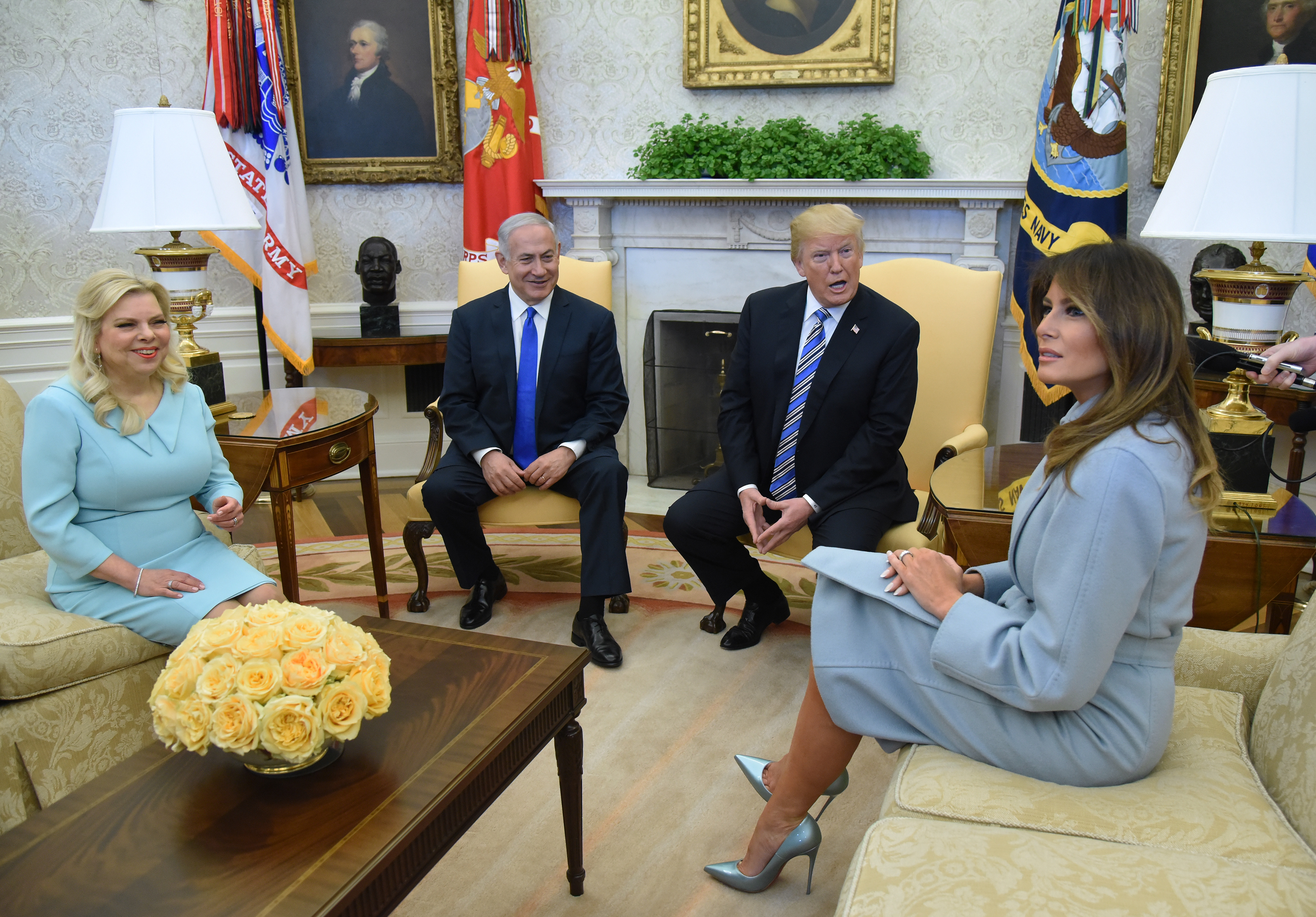 March 5, 2018 - Washington, District of Columbia, United States of America - First lady Melania Trump attends a meeting  with Prime Minister Benjamin Netanyahu and Sara Netanyahu of Israel in the Oval Office of the White House in Washington, DC, March 5, 2018.  . <P> Pictured: United States President Donald J. Trump and first lady Melania Trump meet with Prime Minister Benjamin Netanyahu and Sara Netanyahu of Israel in the Oval Office <B>Ref: SPL1667784  050318  </B><BR/> Picture by: Zuma / Splash News<BR/> </P><P> <B>Splash News and Pictures</B><BR/> Los Angeles:310-821-2666<BR/> New York:212-619-2666<BR/> London:870-934-2666<BR/> <span id=