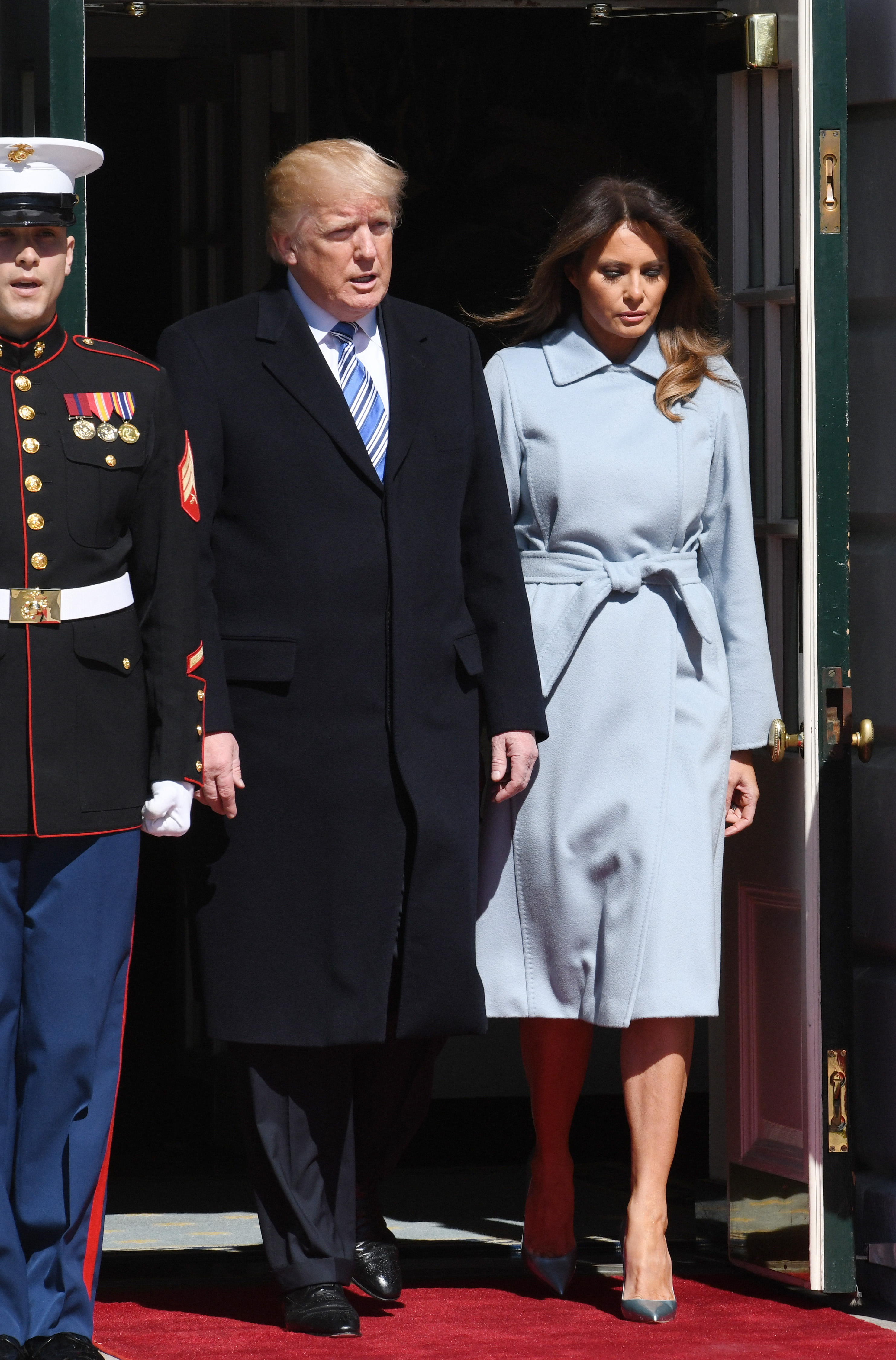 March 5, 2018 - Washington, District of Columbia, United States of America - United States President Donald J. Trump and first lady Melania Trump arrive to greet Prime Minister Benjamin Netanyahu and Sara Netanyahu of Israel at the White House in Washington, DC, March 5, 2018.  Credit: Olivier Douliery / Pool via CNP (Credit Image: © Olivier Douliery/CNP via ZUMA Wire) <P> Pictured: President Donald Trump and first lady Melania Trump greet Prime Minister Benjamin Netanyahu and Sara Netanyahu of Israel <B>Ref: SPL1668258  050318  </B><BR/> Picture by: Zuma / Splash News<BR/> </P><P> <B>Splash News and Pictures</B><BR/> Los Angeles:310-821-2666<BR/> New York:212-619-2666<BR/> London:870-934-2666<BR/> <span id=