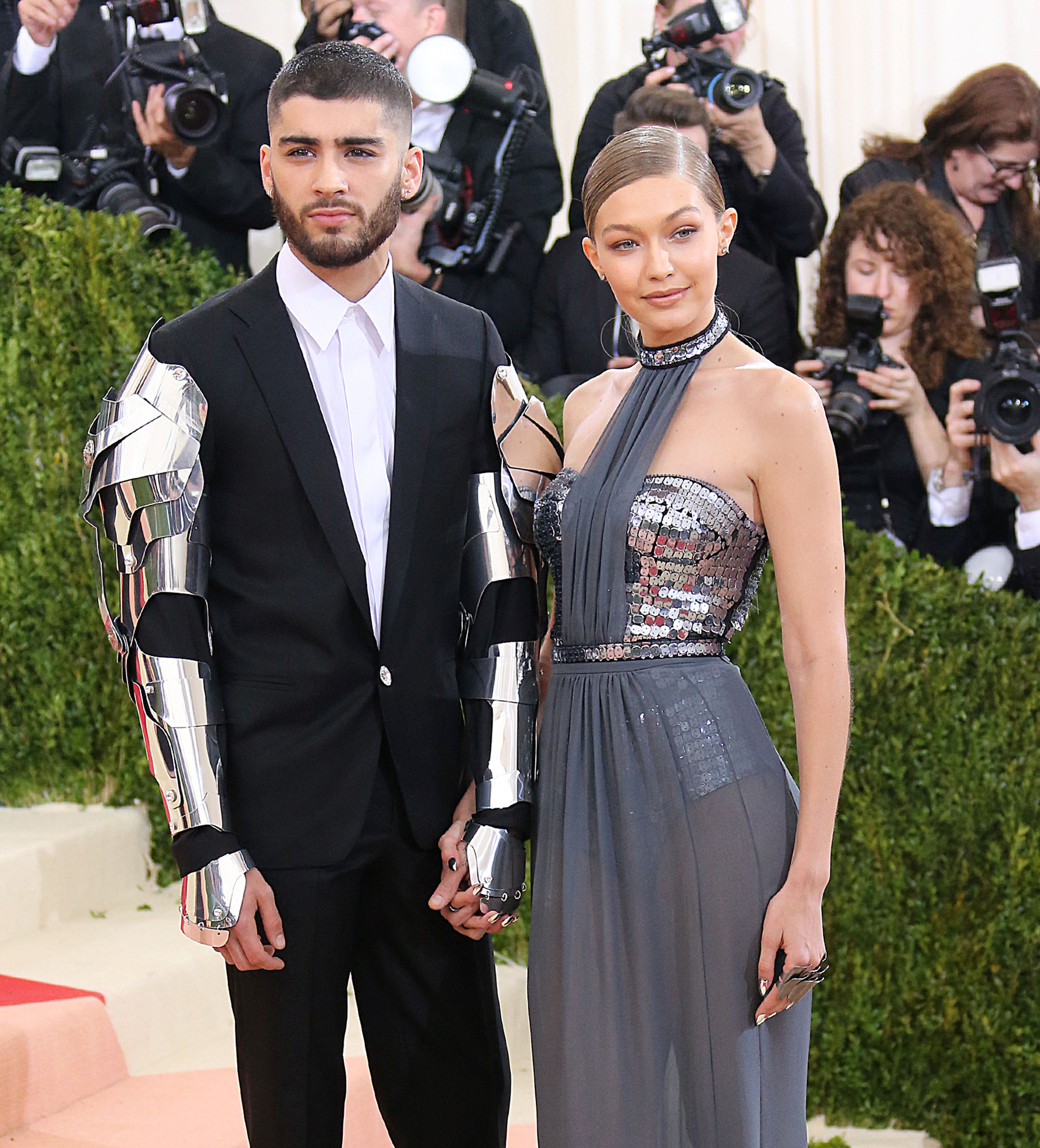 Katy Perry, Jessica Chastain, FKA Twigs (L) and Robert Pattinson, Nicki Minaj, Madonna, Kristen Stewart arrive at the 2016 Met Gala, Costume Institute Benefit at The Metropolitan Museum of Art celebrating the opening of Manus x Machina: Fashion in an Age of Technology.  <P> Pictured: Gigi Hadid and Zayn Malik <B>Ref: SPL1274189  020516  </B><BR/> Picture by: Jackson Lee / Splash News<BR/> </P><P> <B>Splash News and Pictures</B><BR/> Los Angeles:310-821-2666<BR/> New York:212-619-2666<BR/> London:870-934-2666<BR/> <span id=