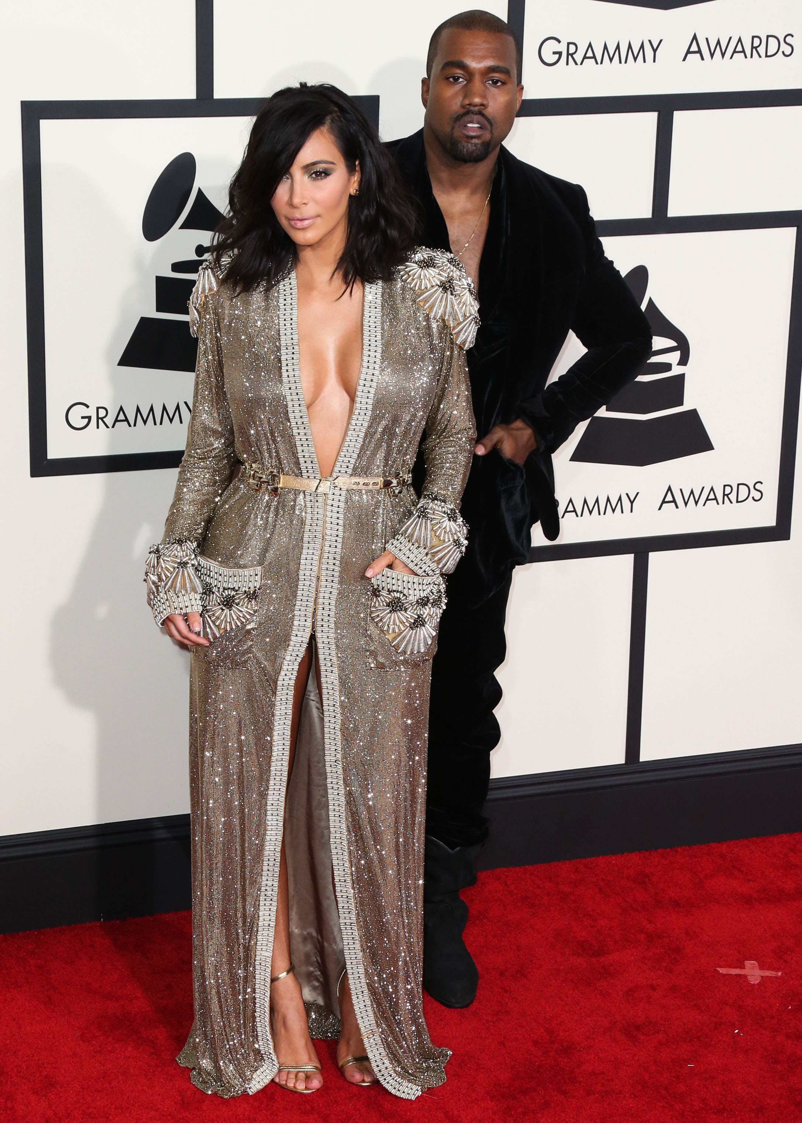 Kim Kardashian and Kanye West arrive at the 57th Annual Grammy Awards, held at Staples Center on February 8, 2015 in Los Angeles, California. <P> Pictured: Kim Kardashian and Kanye West <B>Ref: SPL947621  080215  </B><BR/> Picture by: Xavier Collin/Image Press/Splash<BR/> </P><P> <B>Splash News and Pictures</B><BR/> Los Angeles:310-821-2666<BR/> New York:212-619-2666<BR/> London:870-934-2666<BR/> <span id=