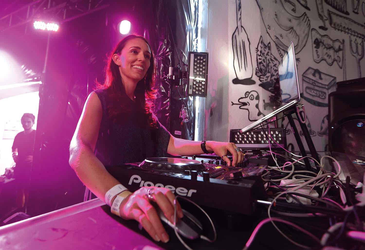 AUCKLAND, NEW ZEALAND - JANUARY 27:  New Zealand Labour MP Jacinda Ardern performs her DJ set in the Thunderdome during the Laneway Festival on January 27, 2014 in Auckland, New Zealand.  (Photo by Fiona Goodall/Getty Images)