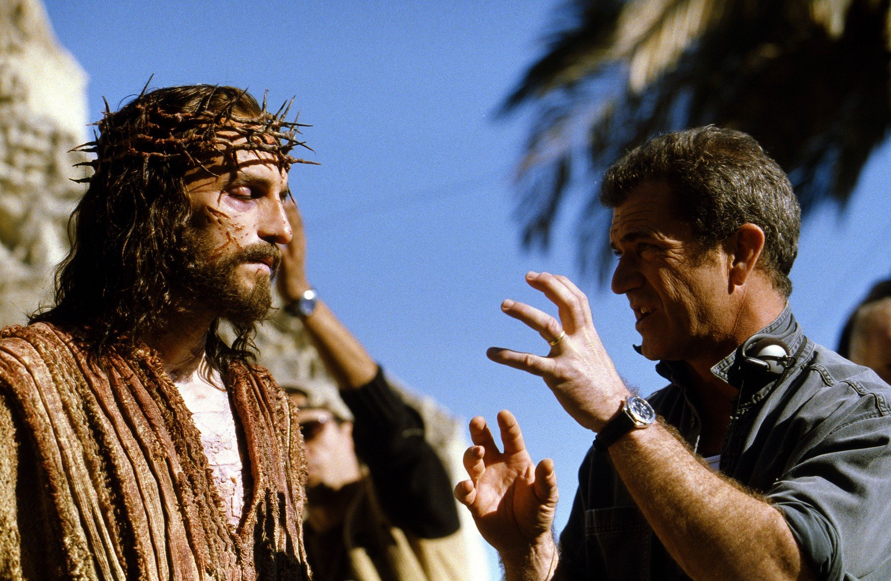 "glumac Jim Caviezel i redatelj Mel Gibson u filmu ""Pasija"" iz 2004."